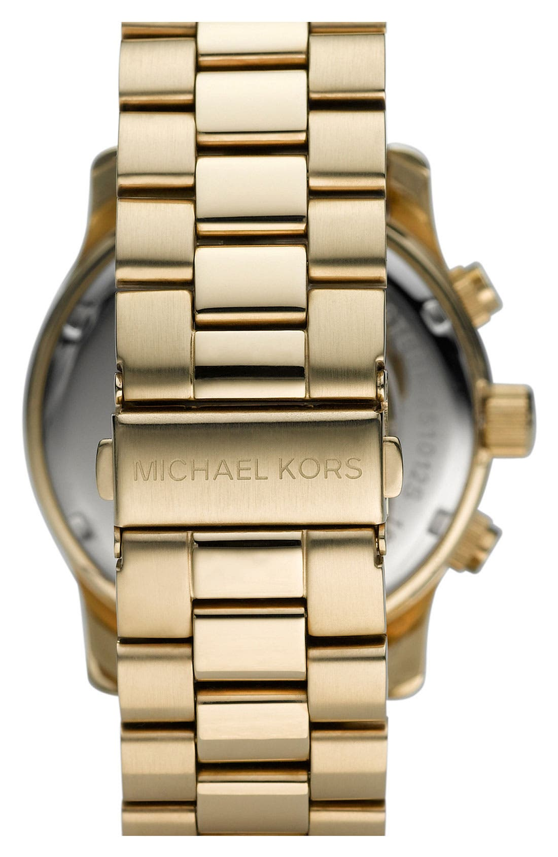 MICHAEL KORS, 'Large Runway' Chronograph Bracelet Watch, 45mm, Alternate thumbnail 5, color, GOLD