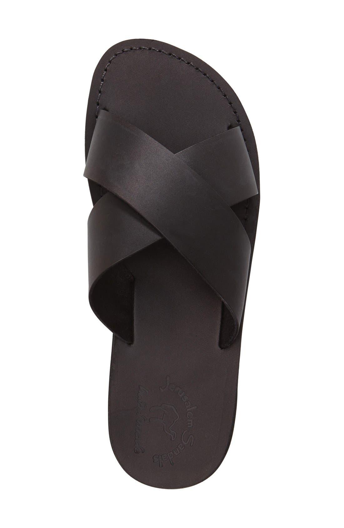JERUSALEM SANDALS, 'Elan' Slide Sandal, Alternate thumbnail 3, color, BLACK LEATHER