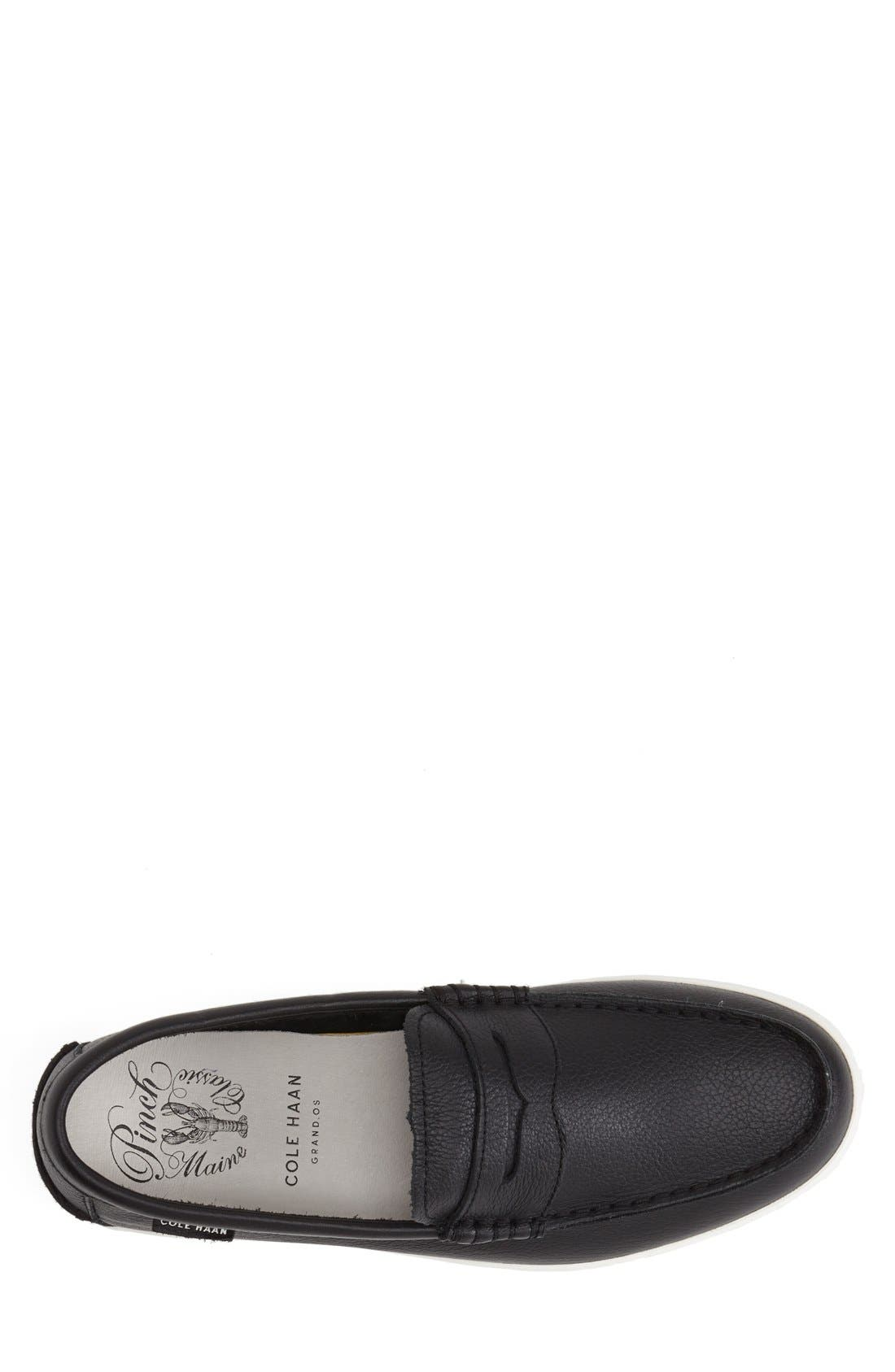 COLE HAAN, 'Pinch' Penny Loafer, Alternate thumbnail 6, color, BLACK LEATHER/ WHITE