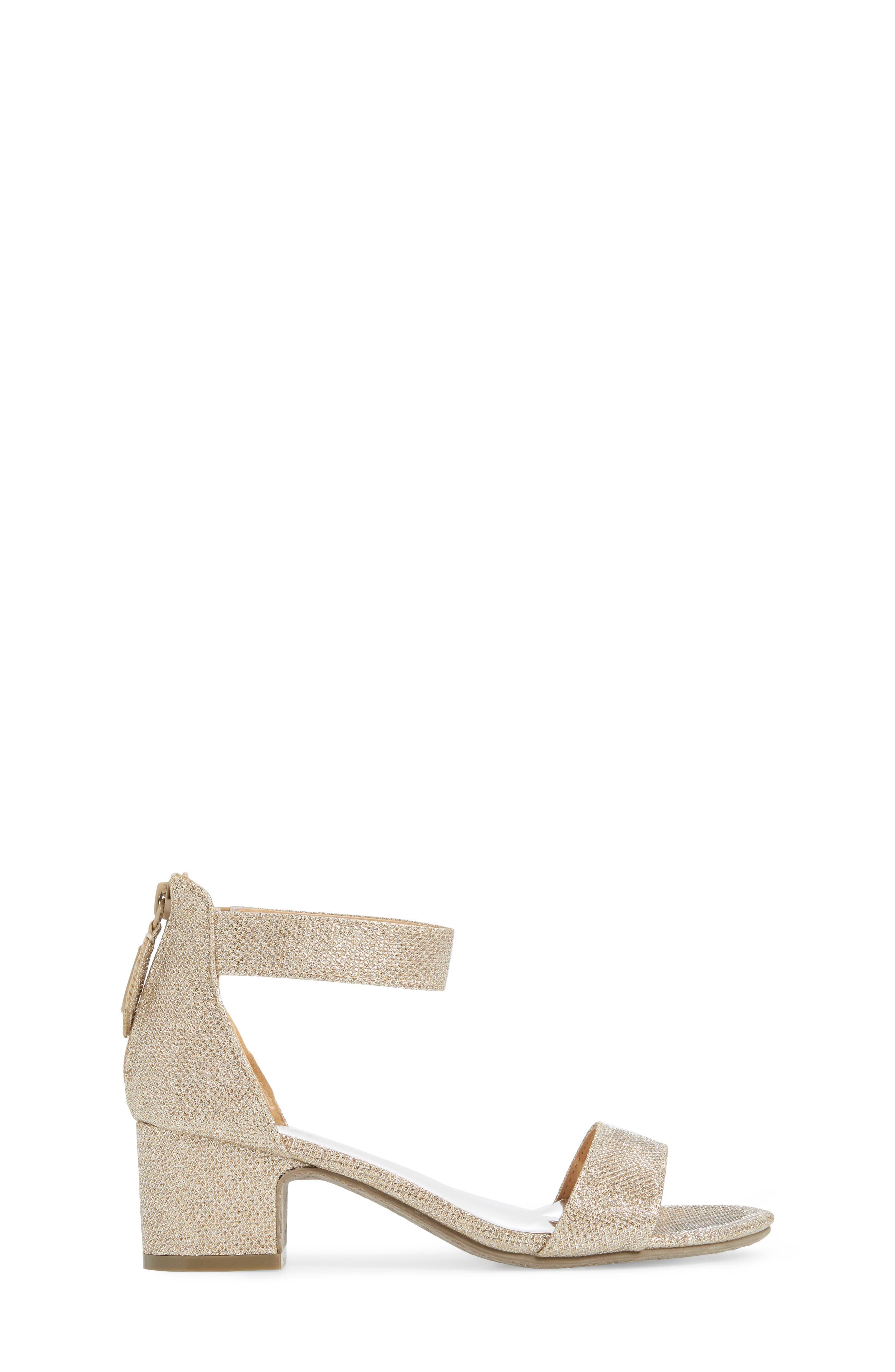 BADGLEY MISCHKA COLLECTION, Badgley Mischka Pernia Velma Shimmer Sandal, Alternate thumbnail 3, color, LIGHT GOLD SHIMMER