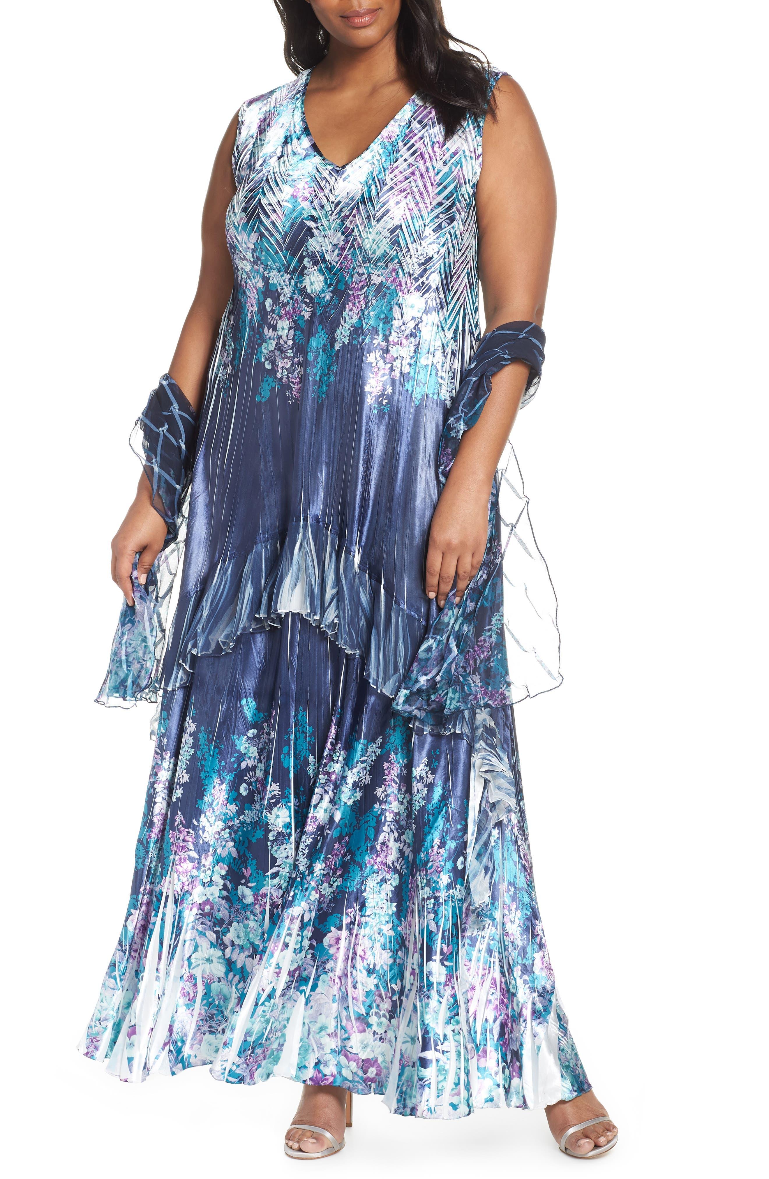 Plus Size Komarov Floral Print Maxi Dress With Shawl, Blue