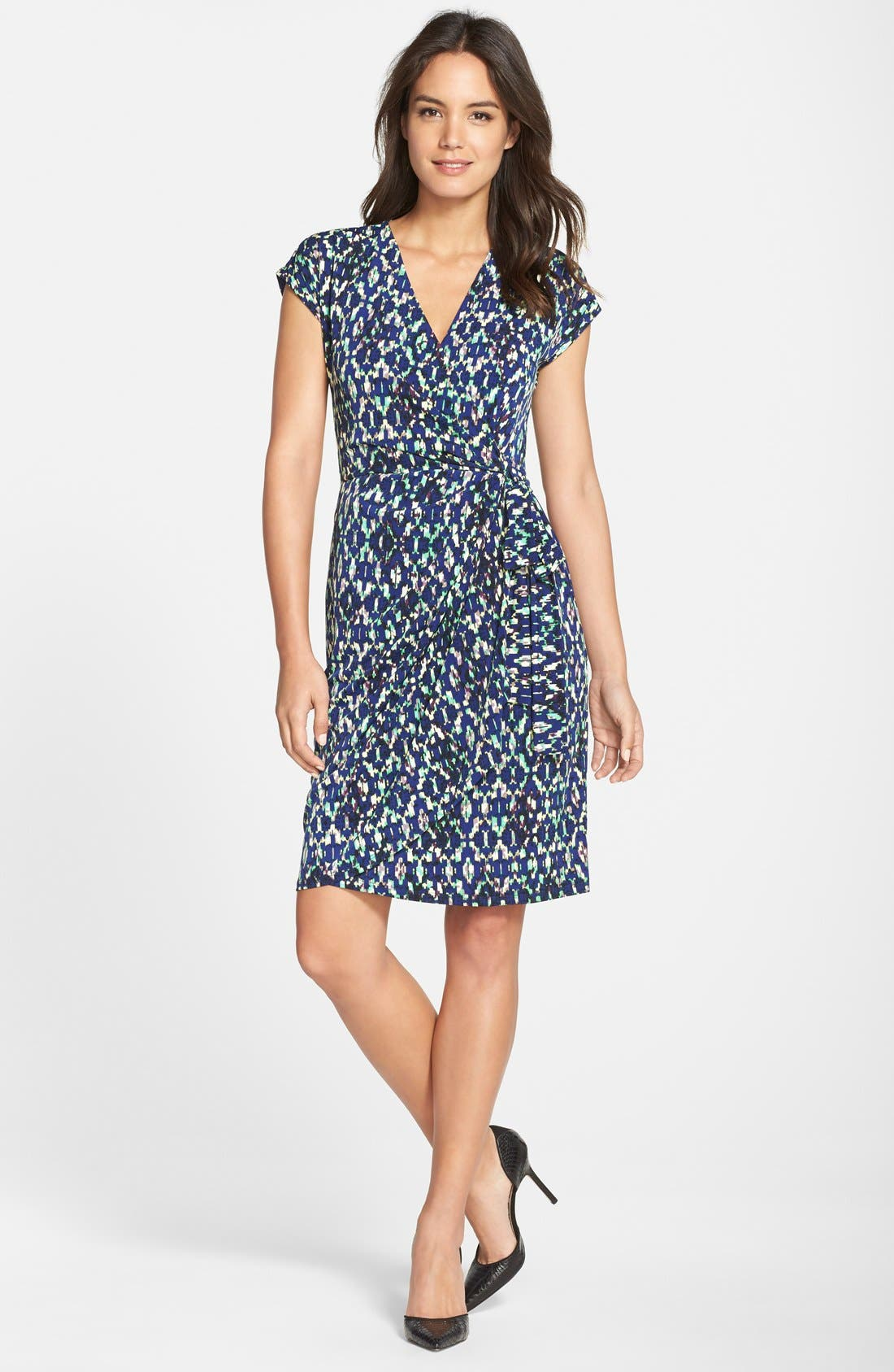 MAGGY LONDON, Ikat Print Wrap Dress, Alternate thumbnail 4, color, 400