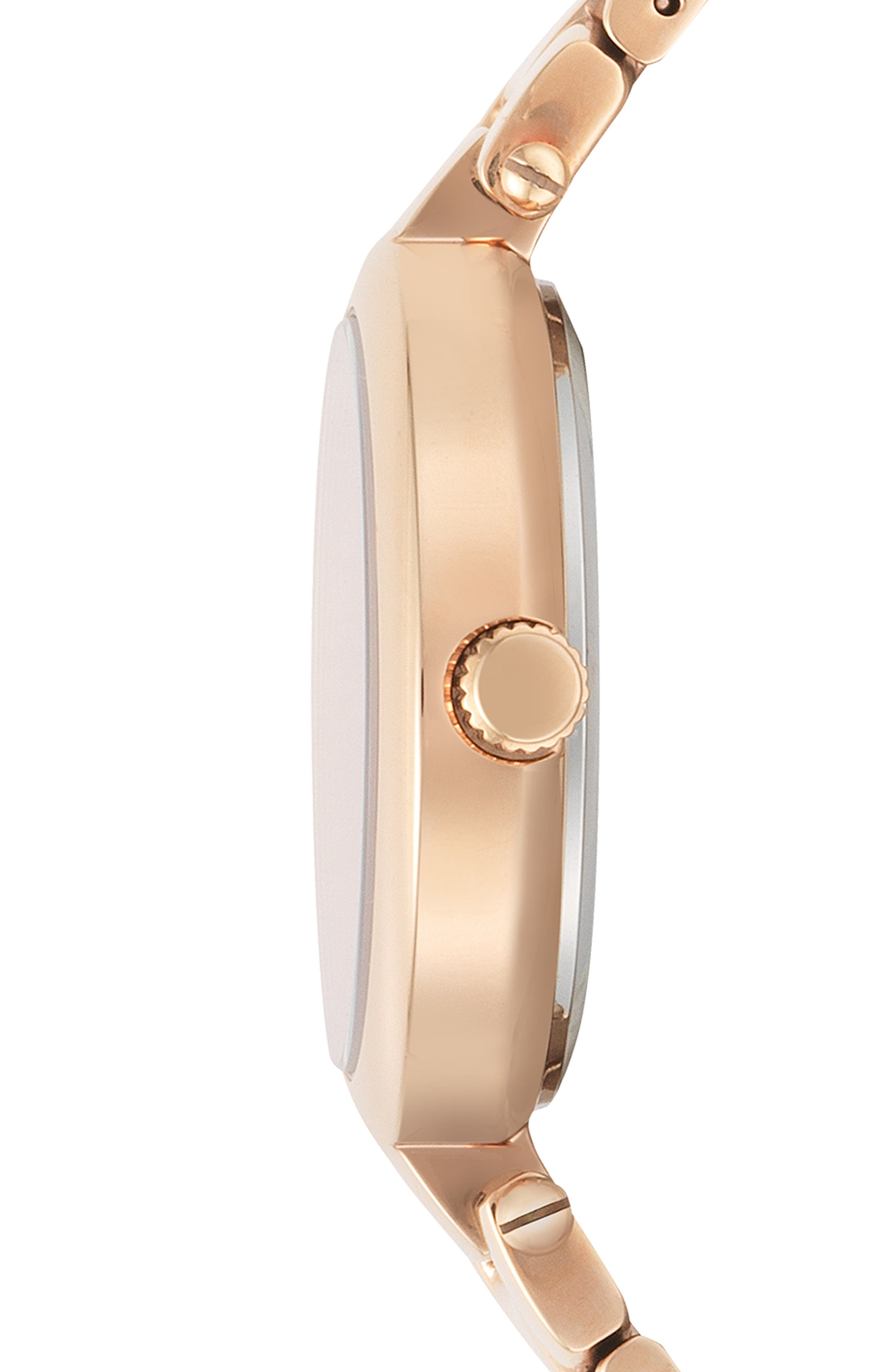 VERSUS VERSACE, Buffle Bay Bracelet Watch, 36mm, Alternate thumbnail 2, color, ROSE GOLD/ RED
