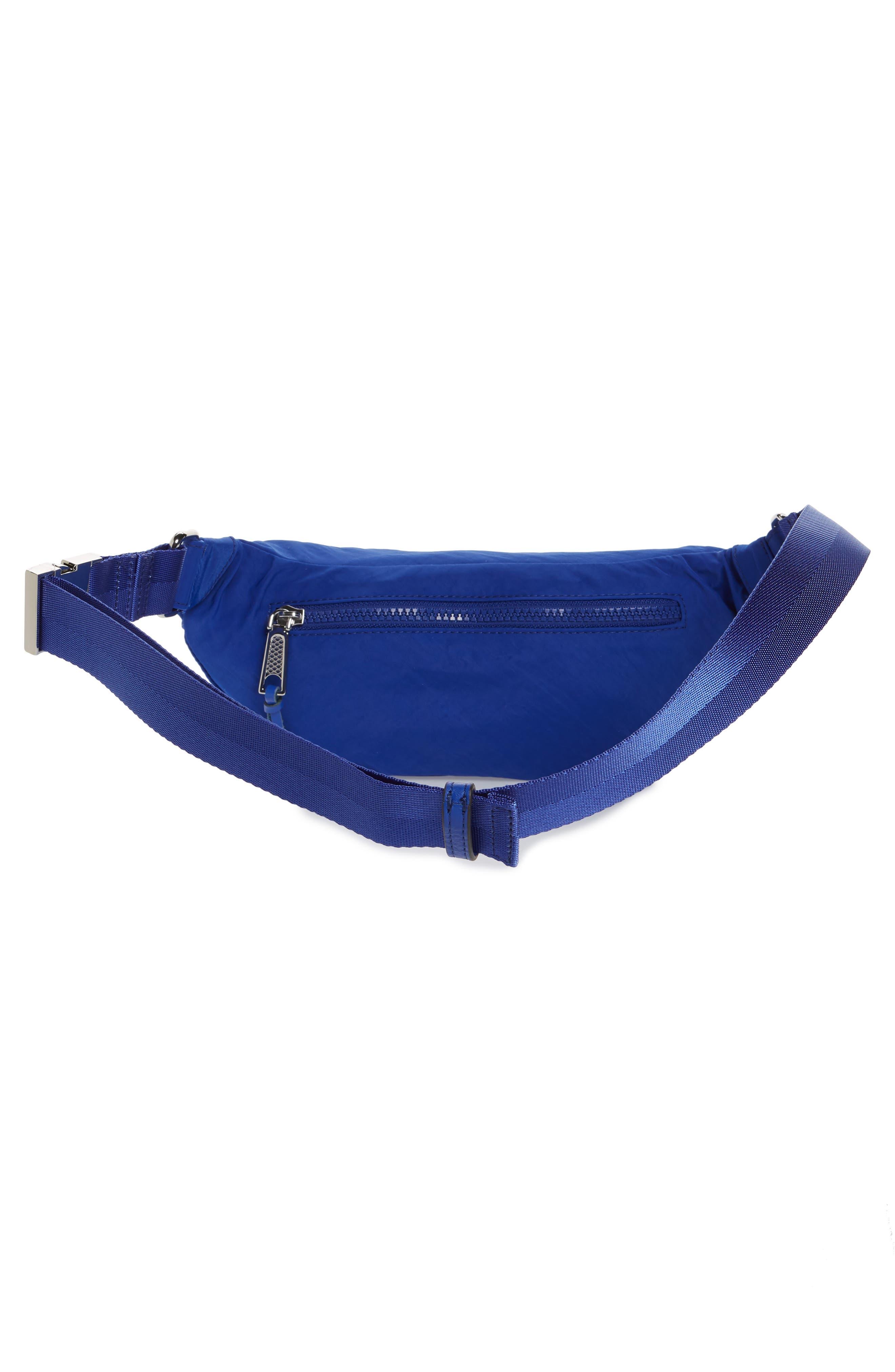 REBECCA MINKOFF, Nylon Belt Bag, Alternate thumbnail 5, color, BRIGHT BLUE