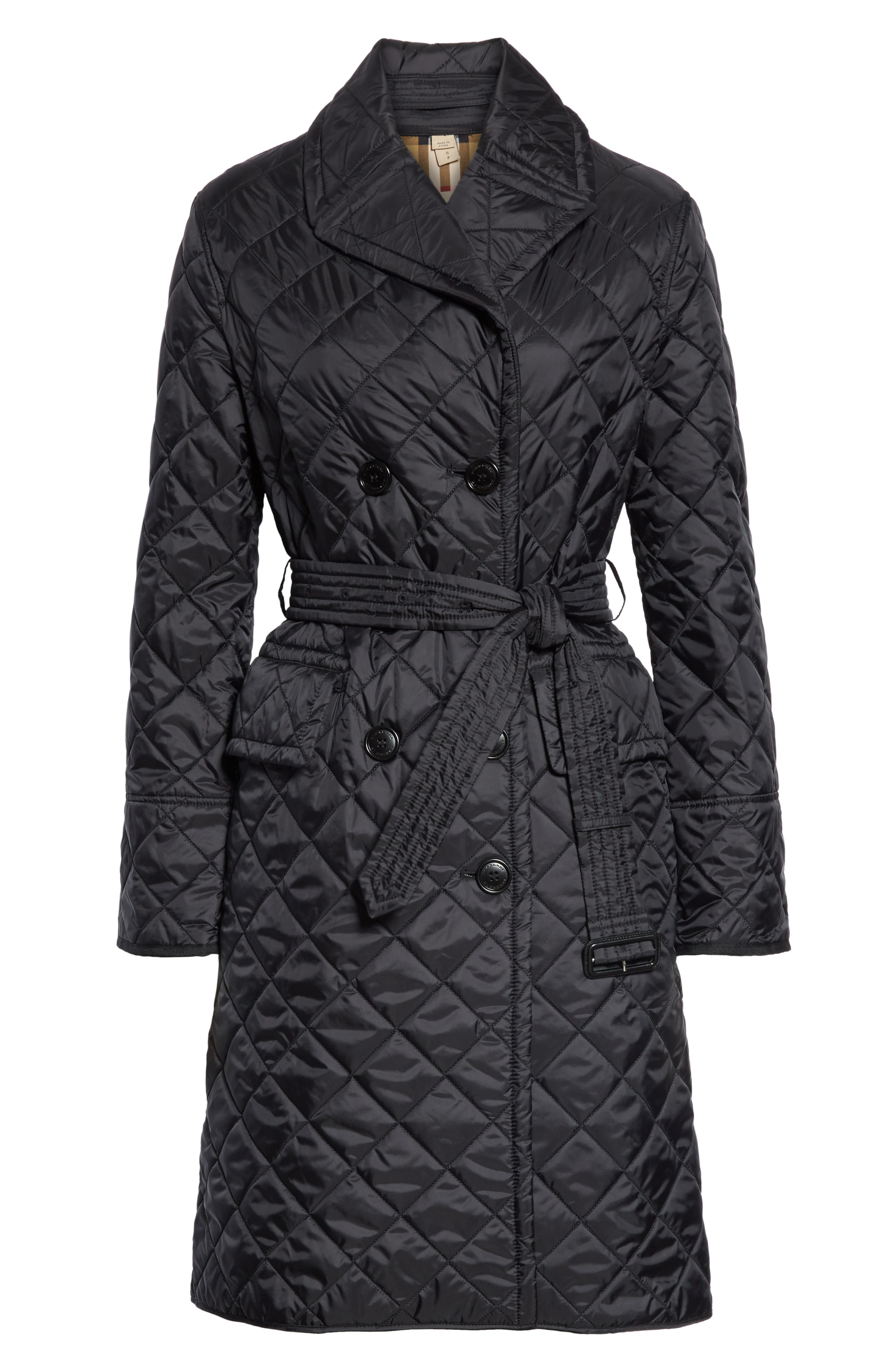 BURBERRY, Horberie Quilted Trench Coat, Alternate thumbnail 5, color, BLACK