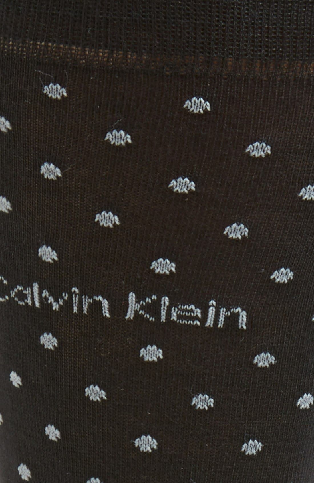 CALVIN KLEIN, Dot Socks, Alternate thumbnail 2, color, BLACK