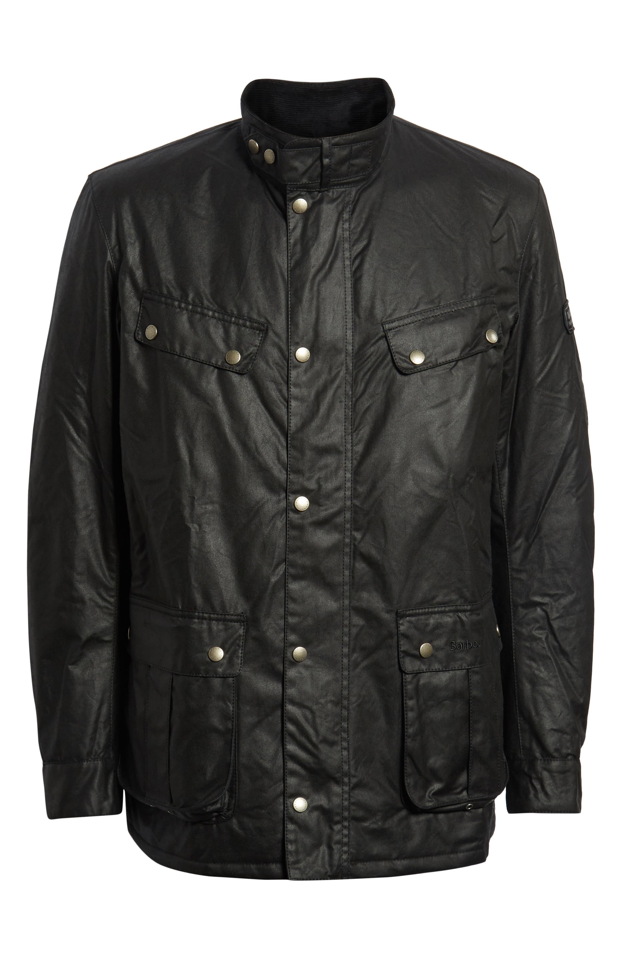 BARBOUR, 'Duke' Regular Fit Waterproof Waxed Cotton Jacket, Main thumbnail 1, color, BLACK