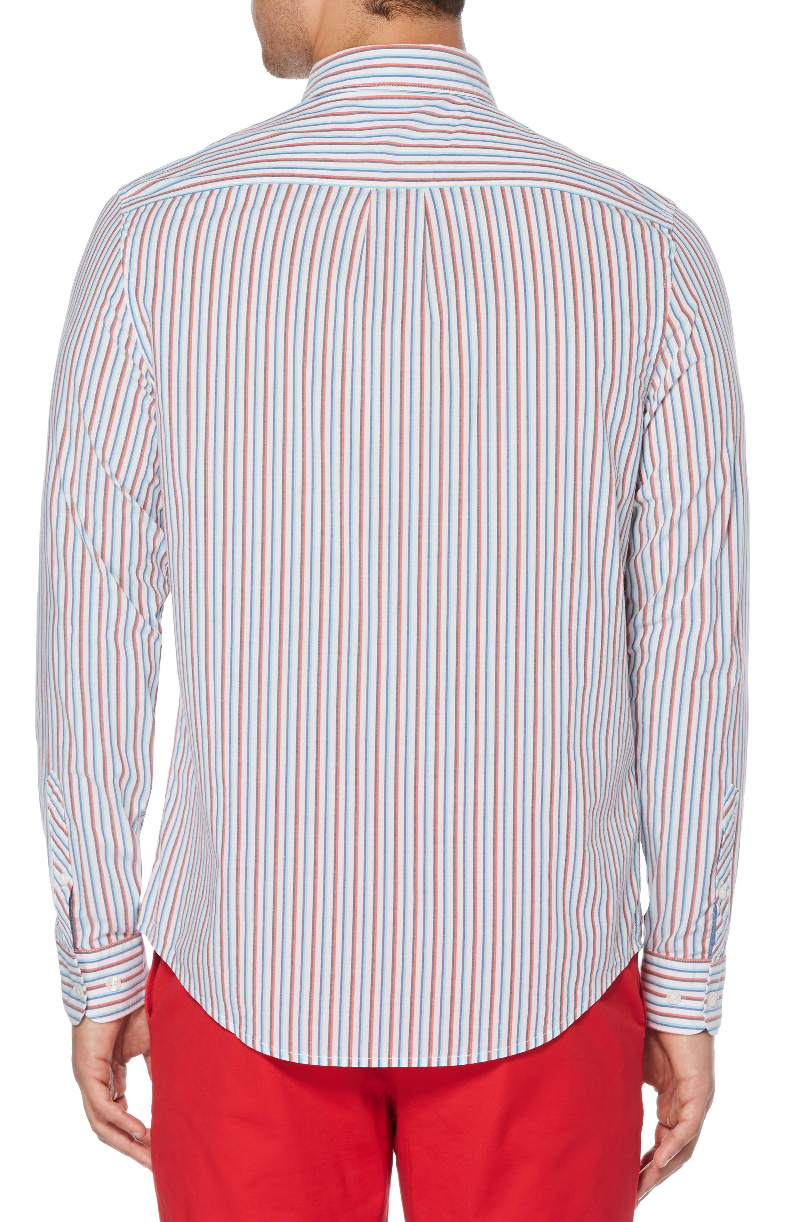 ORIGINAL PENGUIN, Hairline Stripe Sport Shirt, Alternate thumbnail 3, color, BRIGHT WHITE