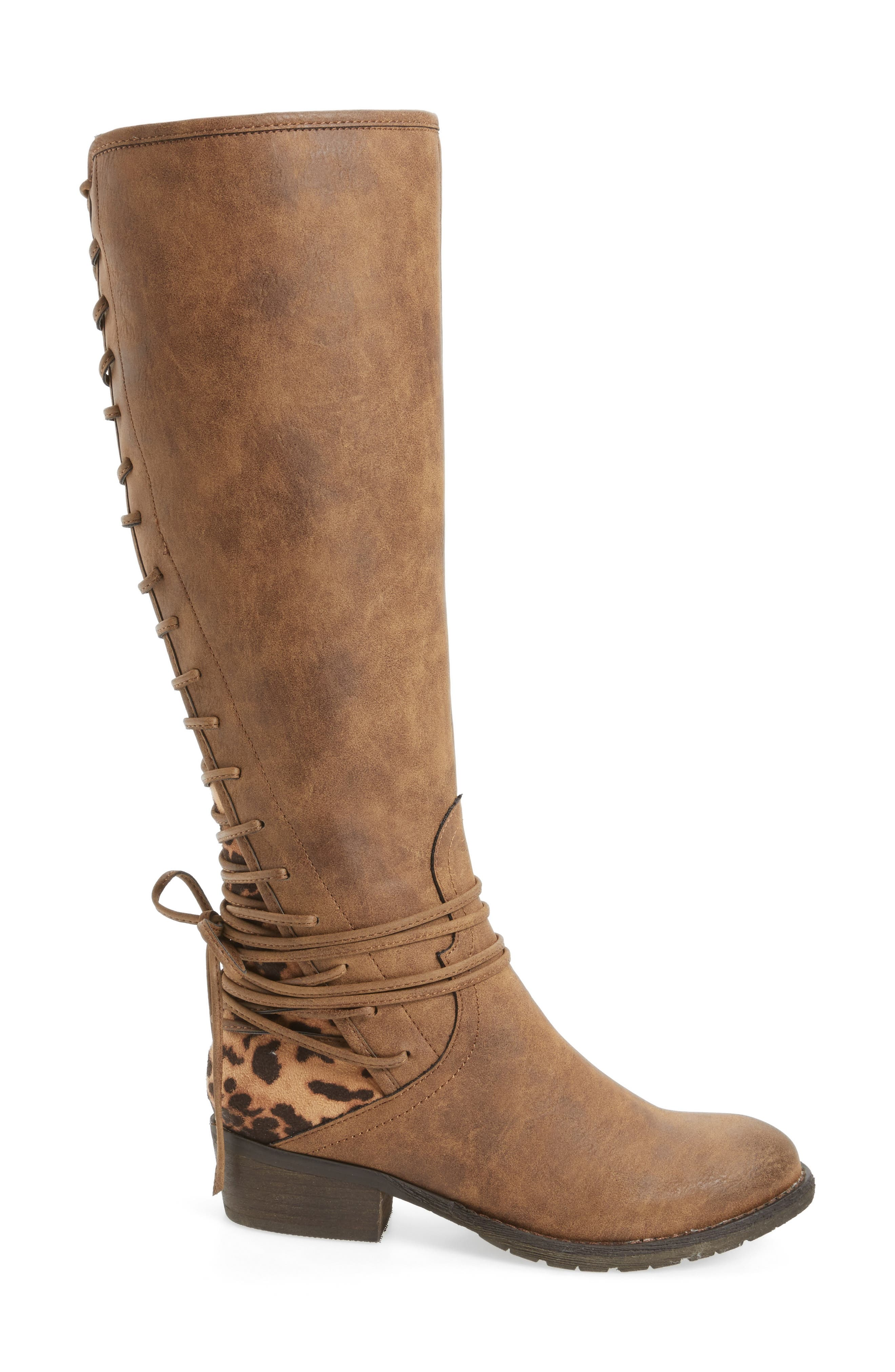 VERY VOLATILE, Marcel Corseted Knee High Boot, Alternate thumbnail 3, color, TAN FAUX LEATHER