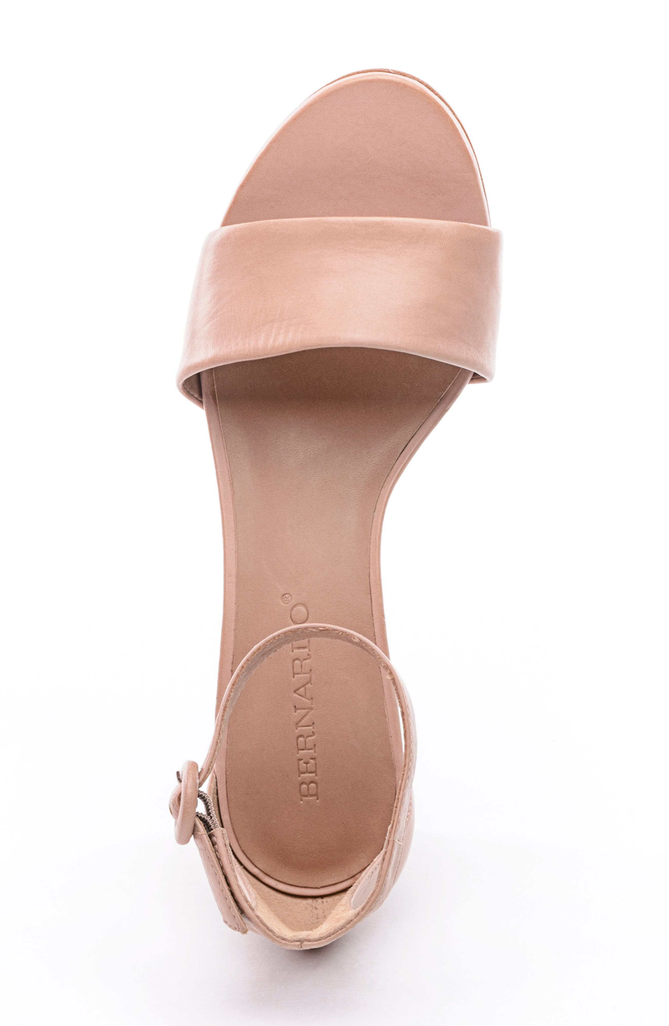 BERNARDO, Belinda Ankle Strap Sandal, Alternate thumbnail 5, color, BLUSH LEATHER