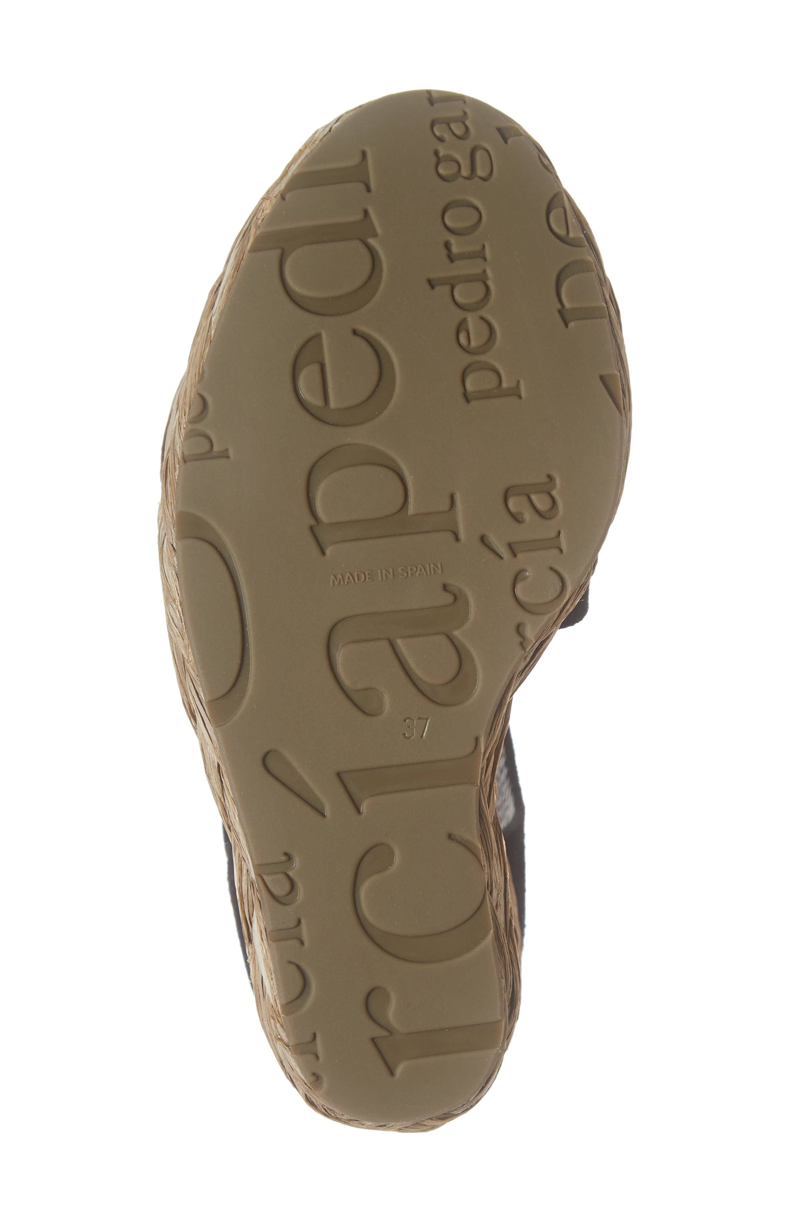 PEDRO GARCIA, Tage Raffia Wedge Sandal, Alternate thumbnail 6, color, BLACK CASTORO
