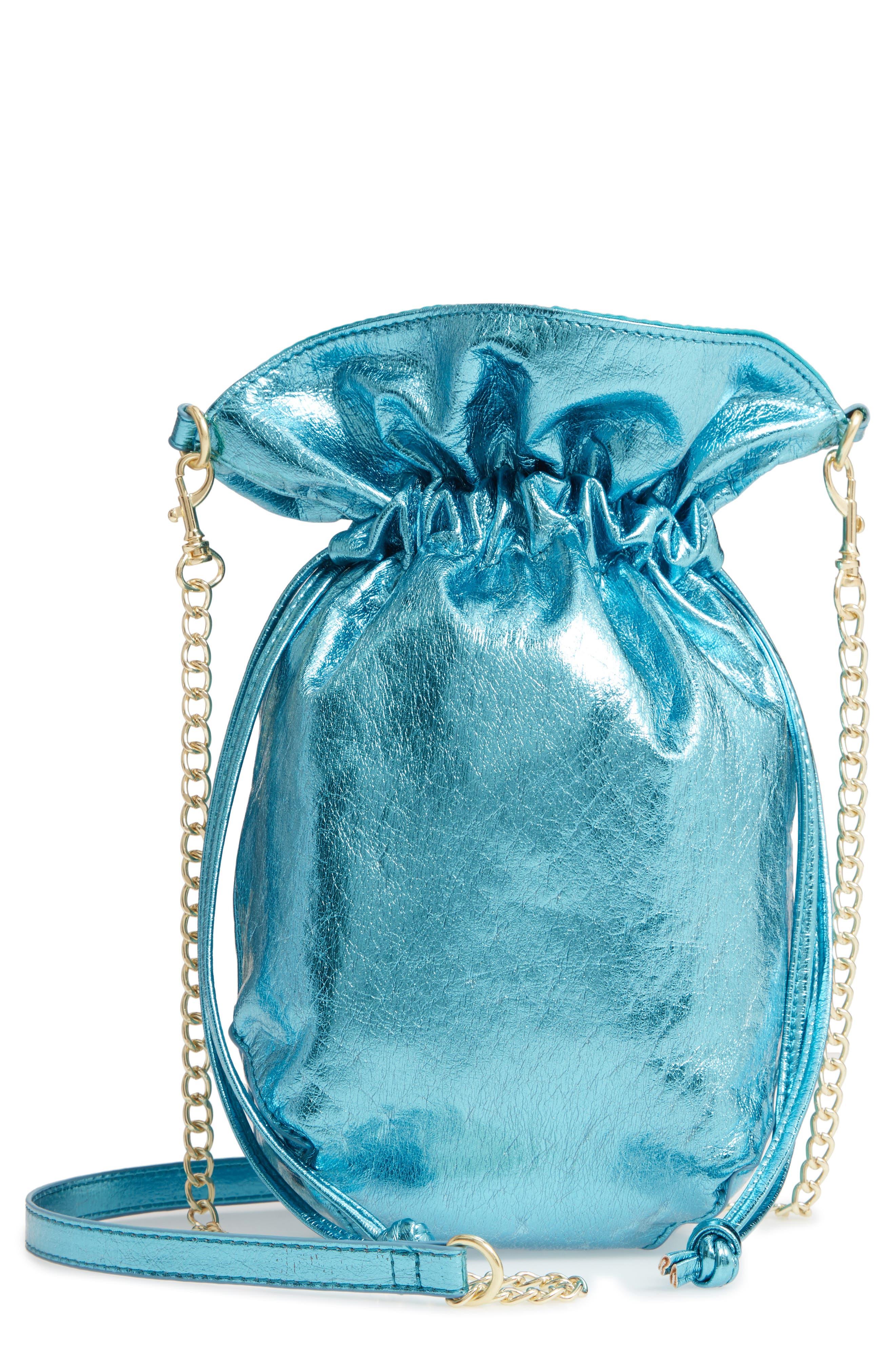 LEITH Mini Slouch Drawstring Bag, Main, color, BLUE METALLIC