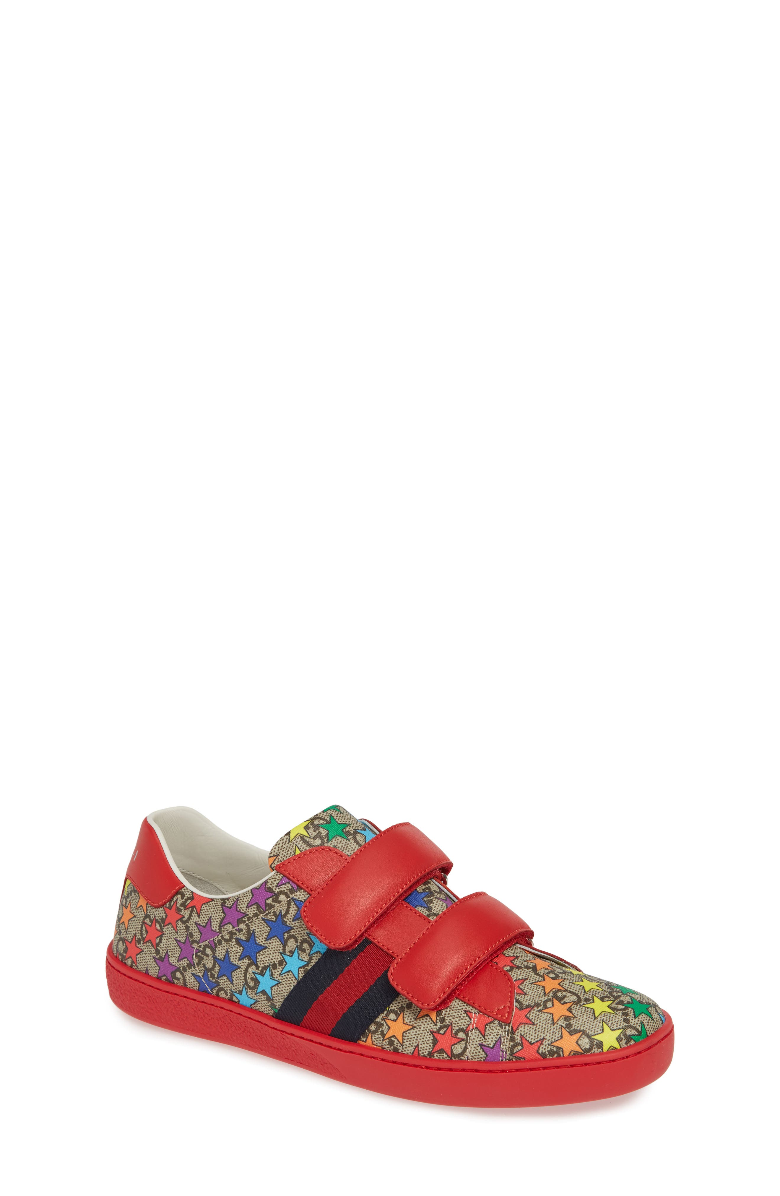 GUCCI, New Ace Sneaker, Main thumbnail 1, color, RED/ BEIGE/ EBONY