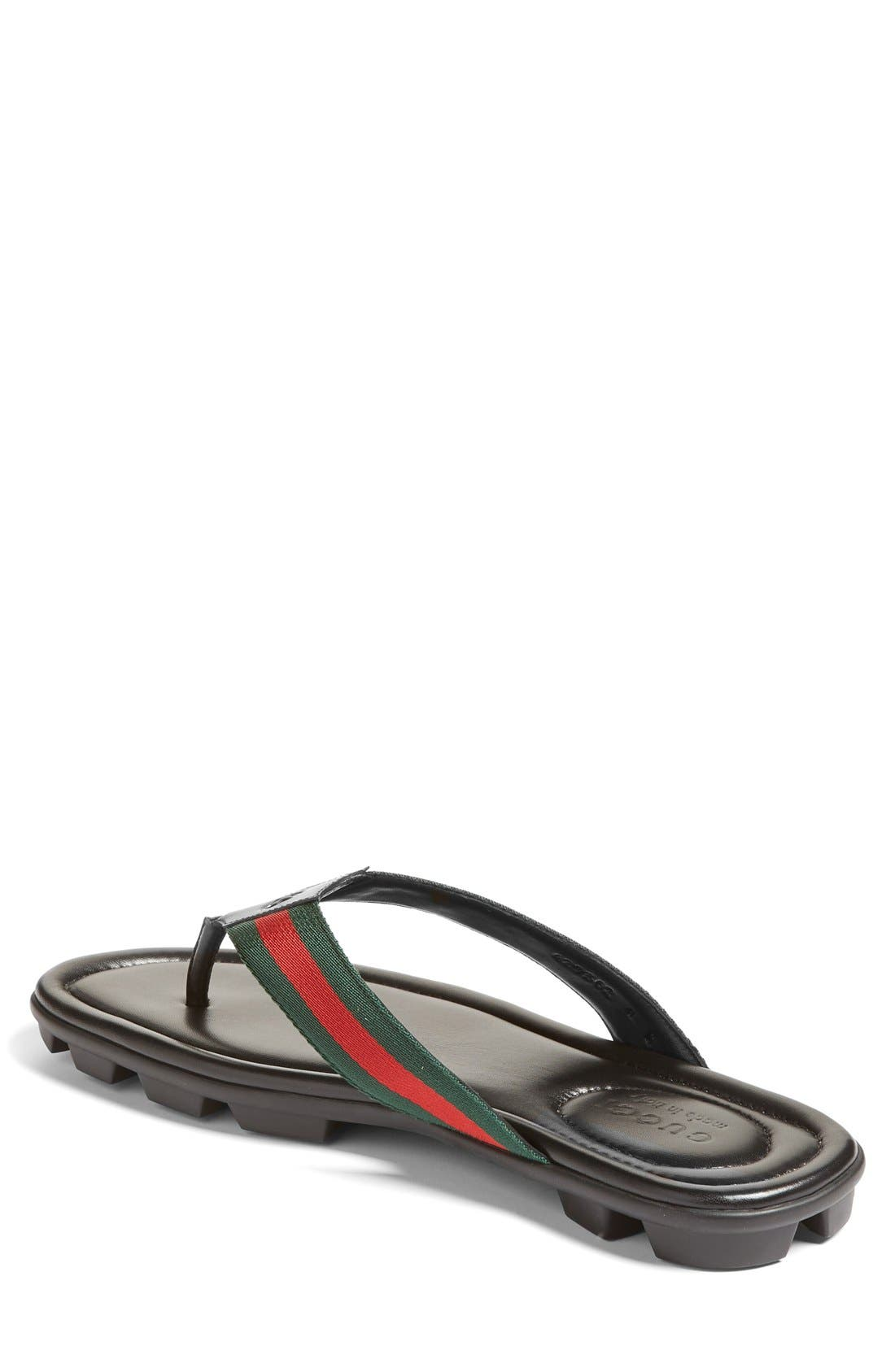 GUCCI, Titan Flip Flop, Alternate thumbnail 6, color, NERO LEATHER