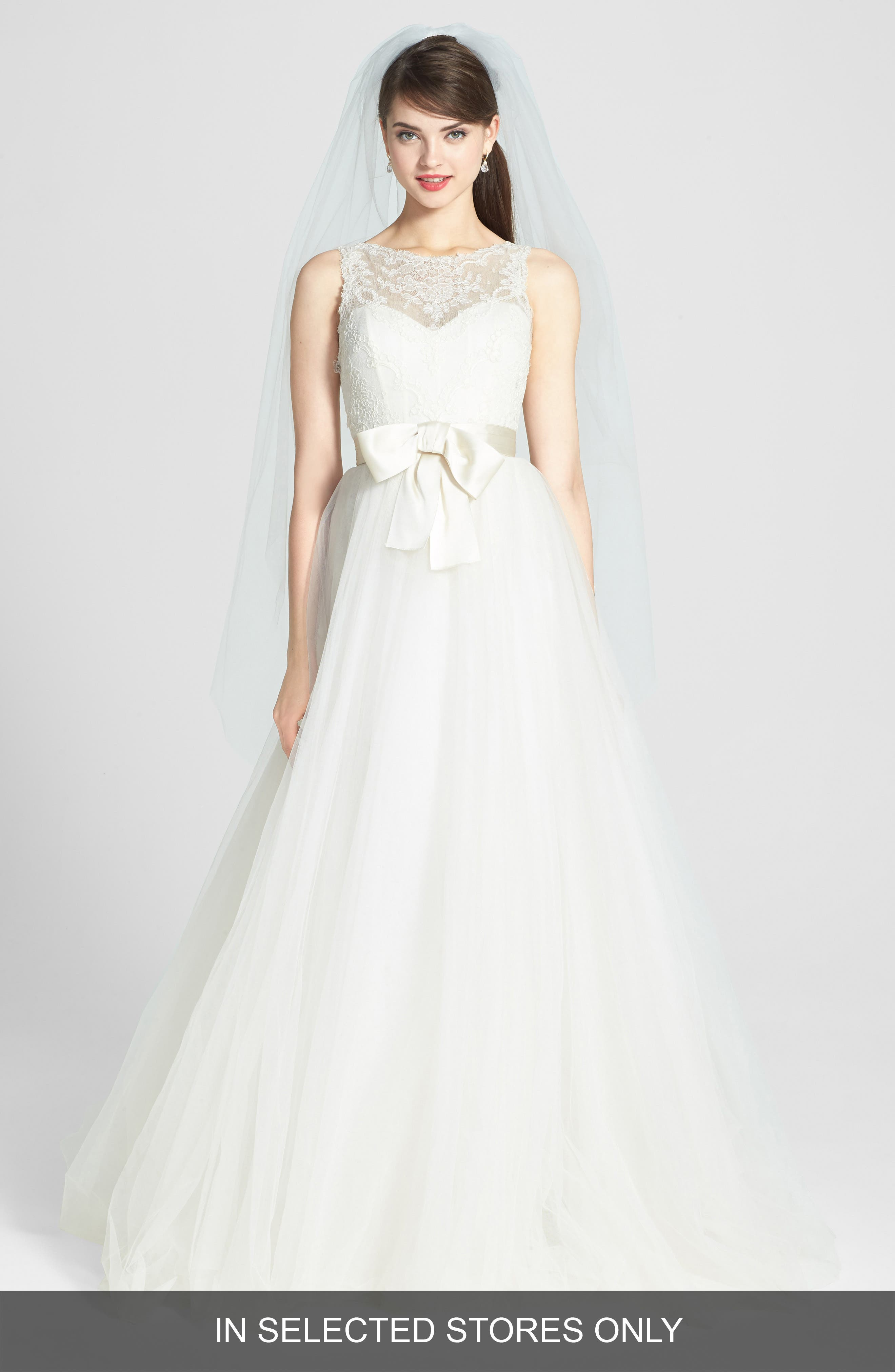 AMSALE, Quinn French Lace Illusion Bodice Tulle Wedding Dress, Alternate thumbnail 3, color, 900