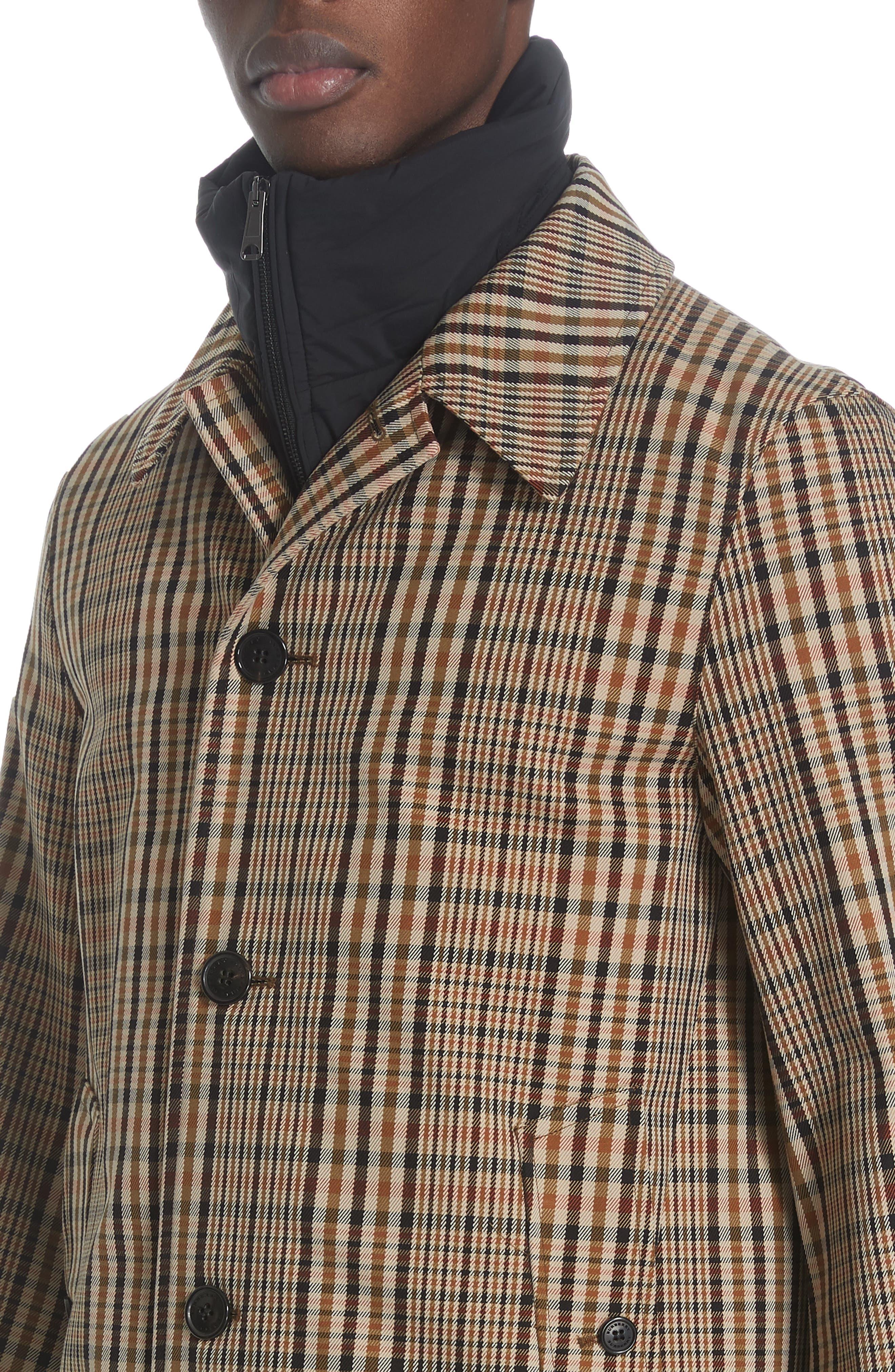 BURBERRY, Lenthorne Check Car Coat with Detachable Vest, Alternate thumbnail 5, color, DARK CAMEL