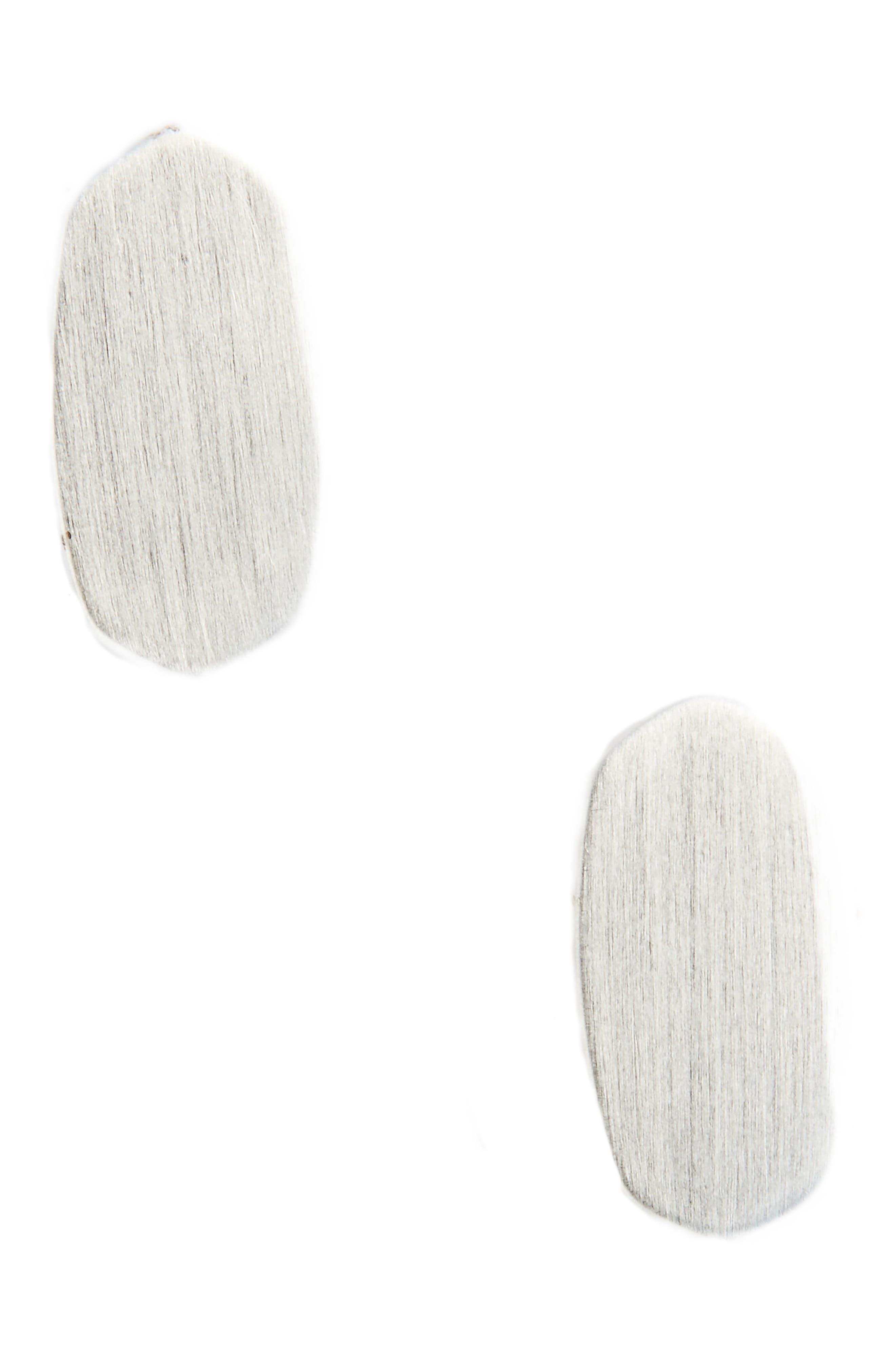 KENDRA SCOTT, Barrett Stud Earrings, Main thumbnail 1, color, BRIGHT SILVER