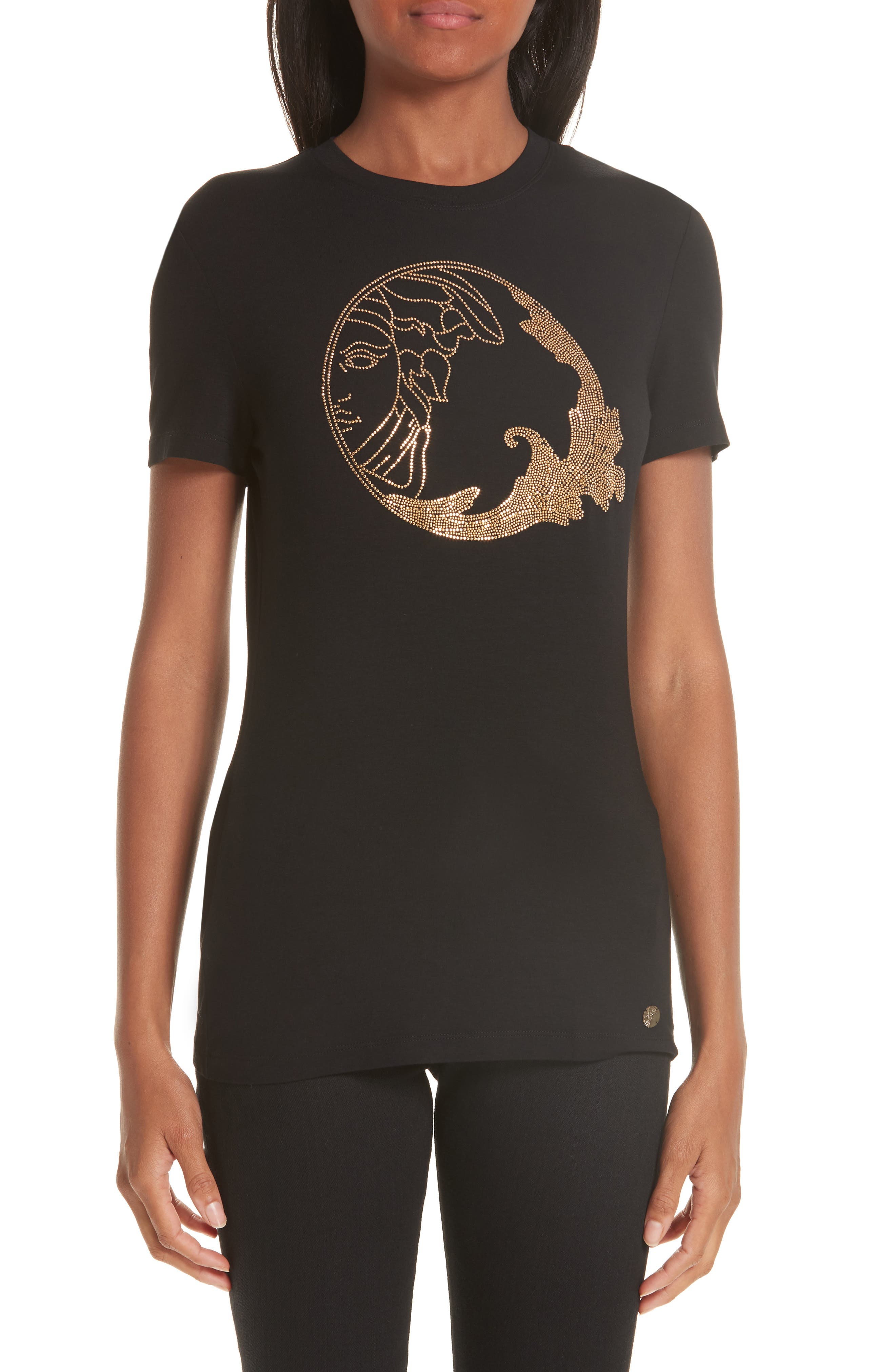 VERSACE COLLECTION, Medusa Crystal Embellished Jersey Tee, Main thumbnail 1, color, BLACK