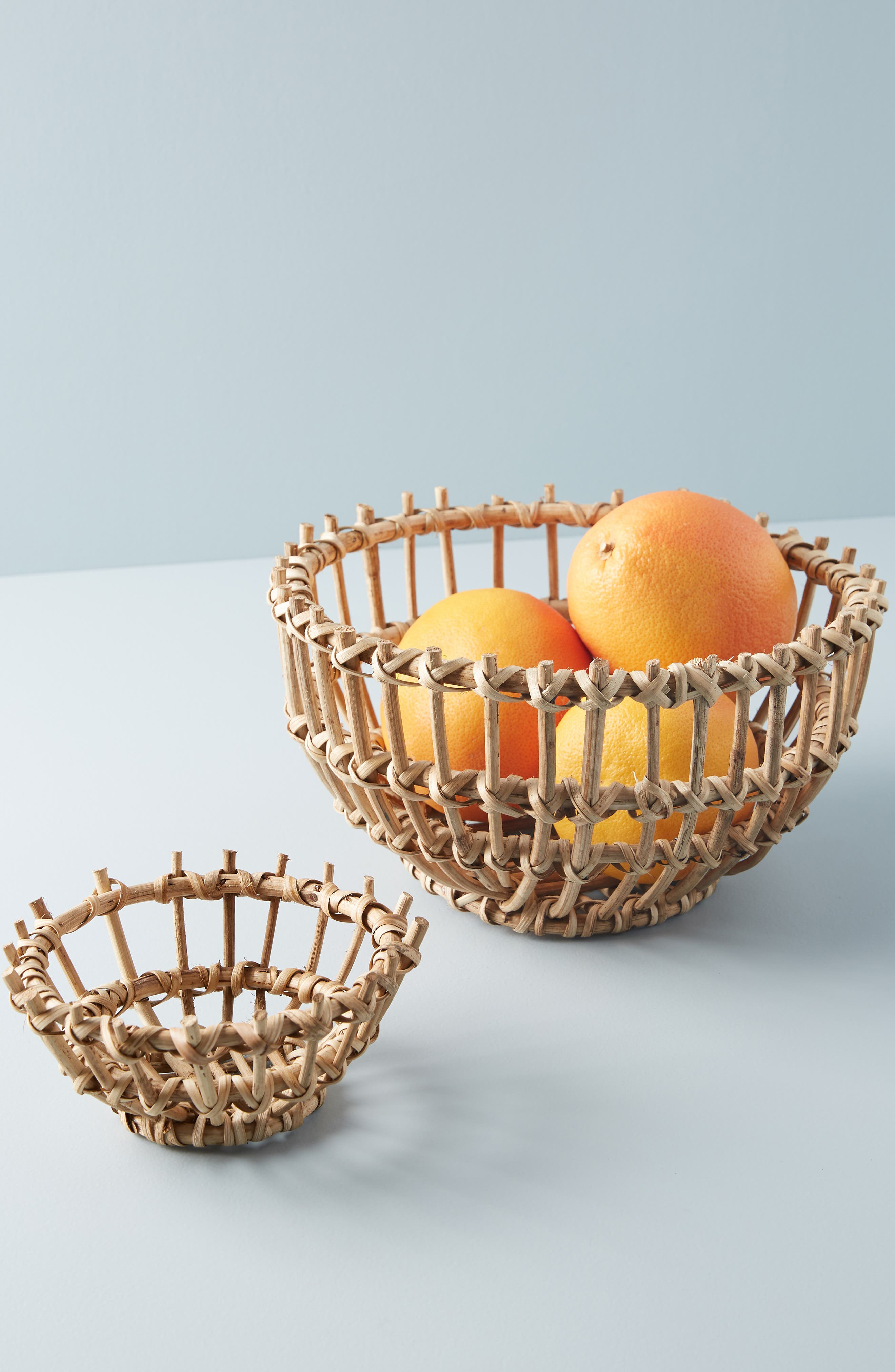 ANTHROPOLOGIE, Anthropology Woven Wooden Basket, Alternate thumbnail 3, color, BROWN