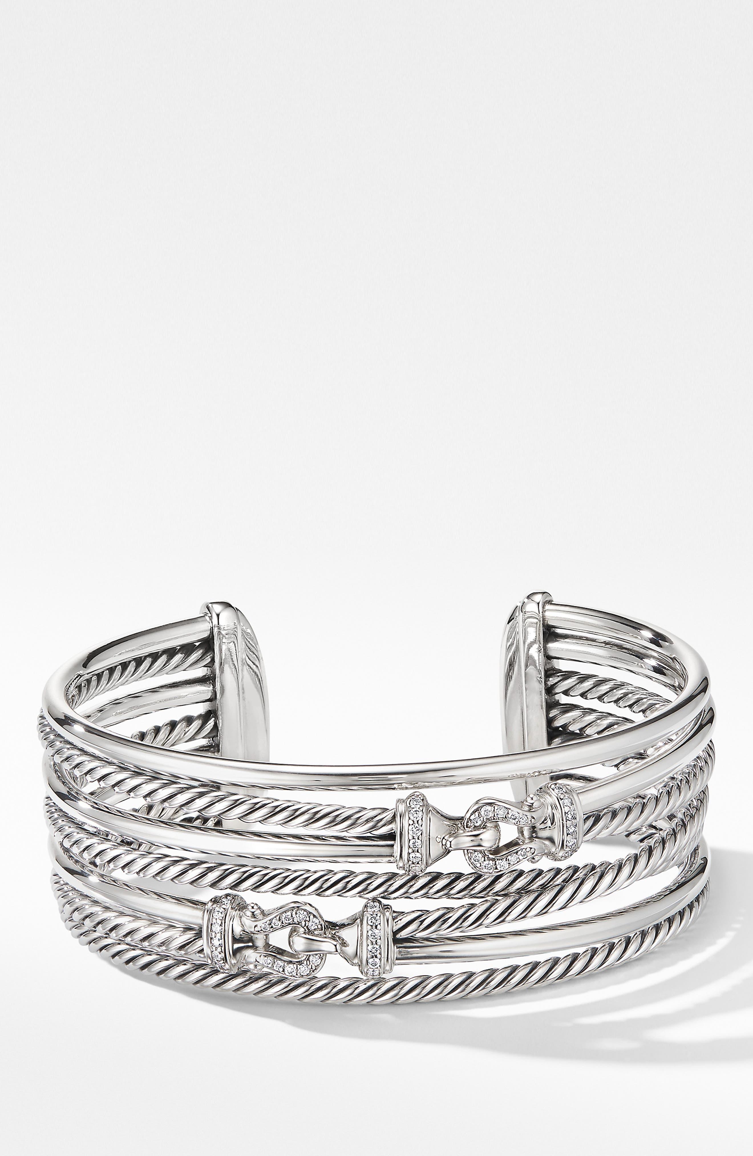 DAVID YURMAN, Buckle Crossover Cuff Bracelet with Diamonds, Main thumbnail 1, color, SILVER/ DIAMOND