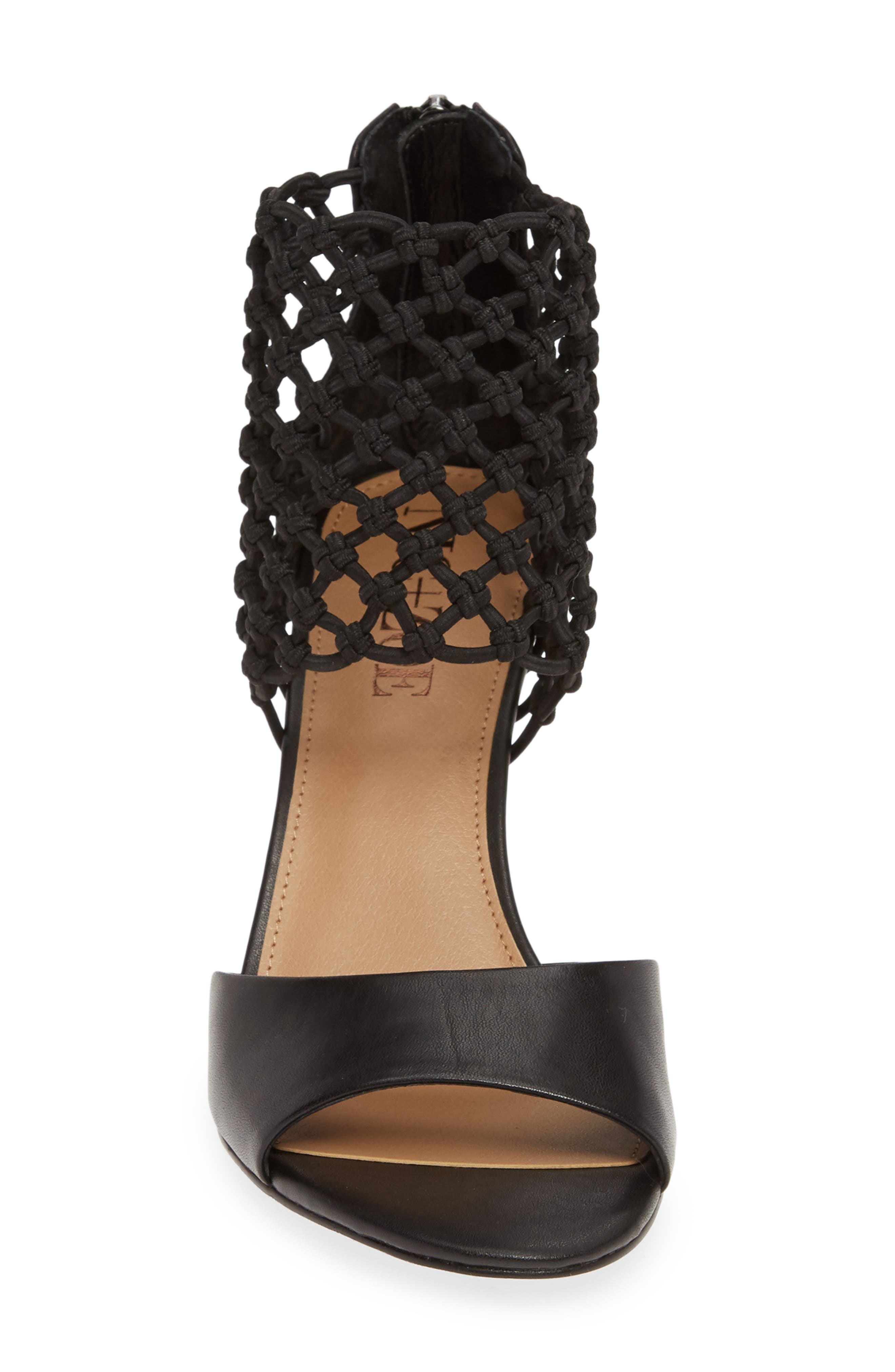 NIC+ZOE, Nobel Net Shield Sandal, Alternate thumbnail 4, color, BLACK LEATHER