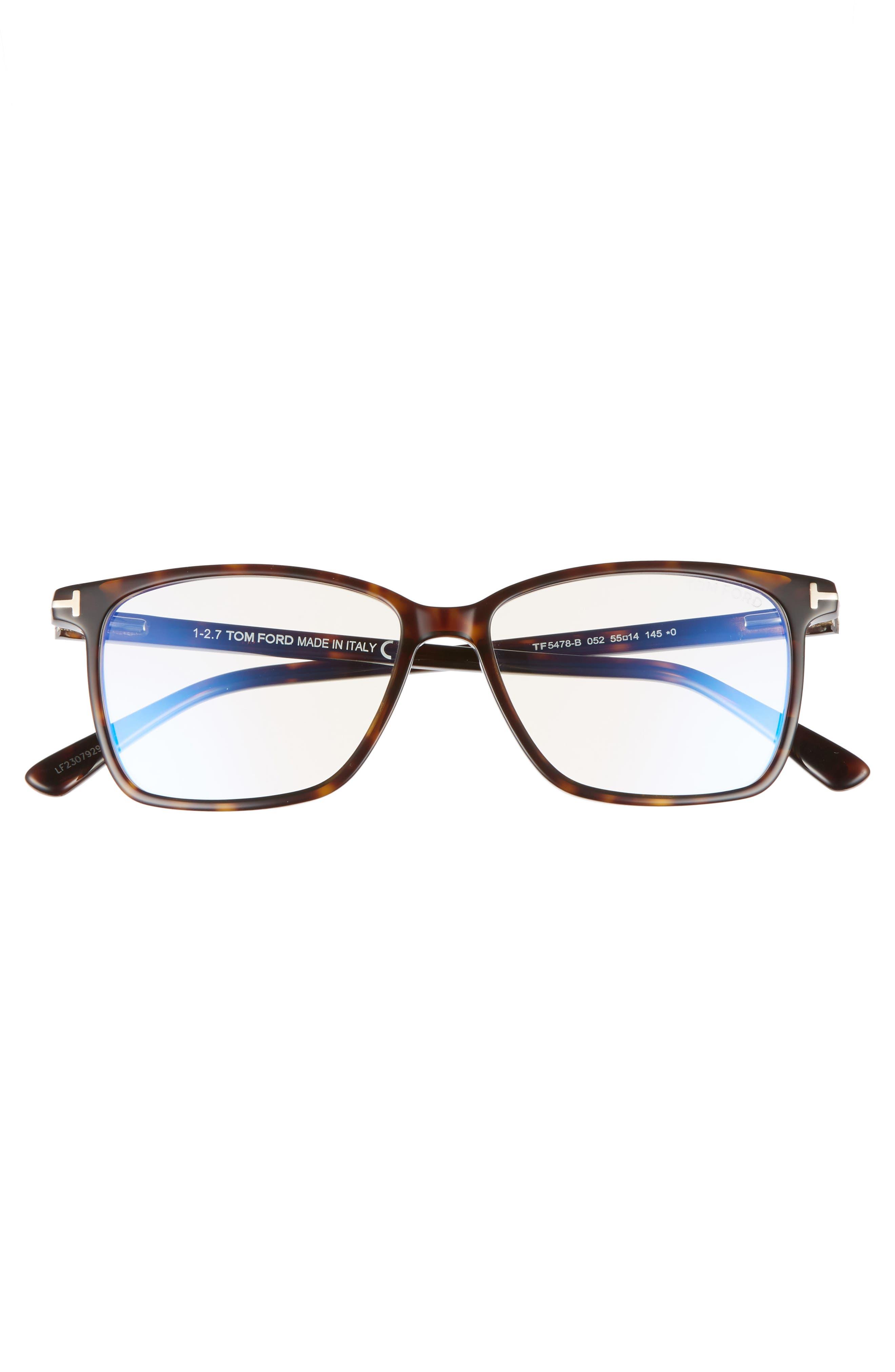 TOM FORD, 55mm Blue Block Optical Glasses, Alternate thumbnail 3, color, DARK HAVANA/ BLUE