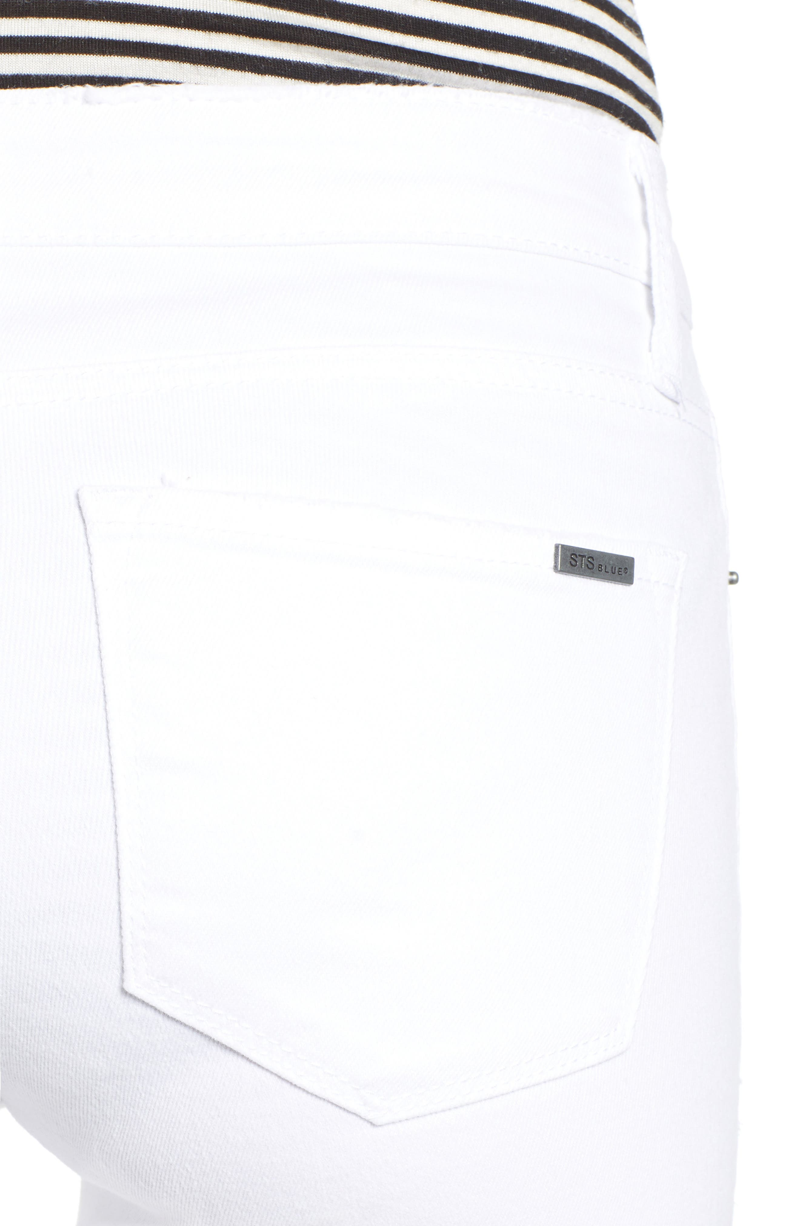 STS BLUE, Emma Cutoff Hem Crop Skinny Jeans, Alternate thumbnail 5, color, OPTIC WHITE