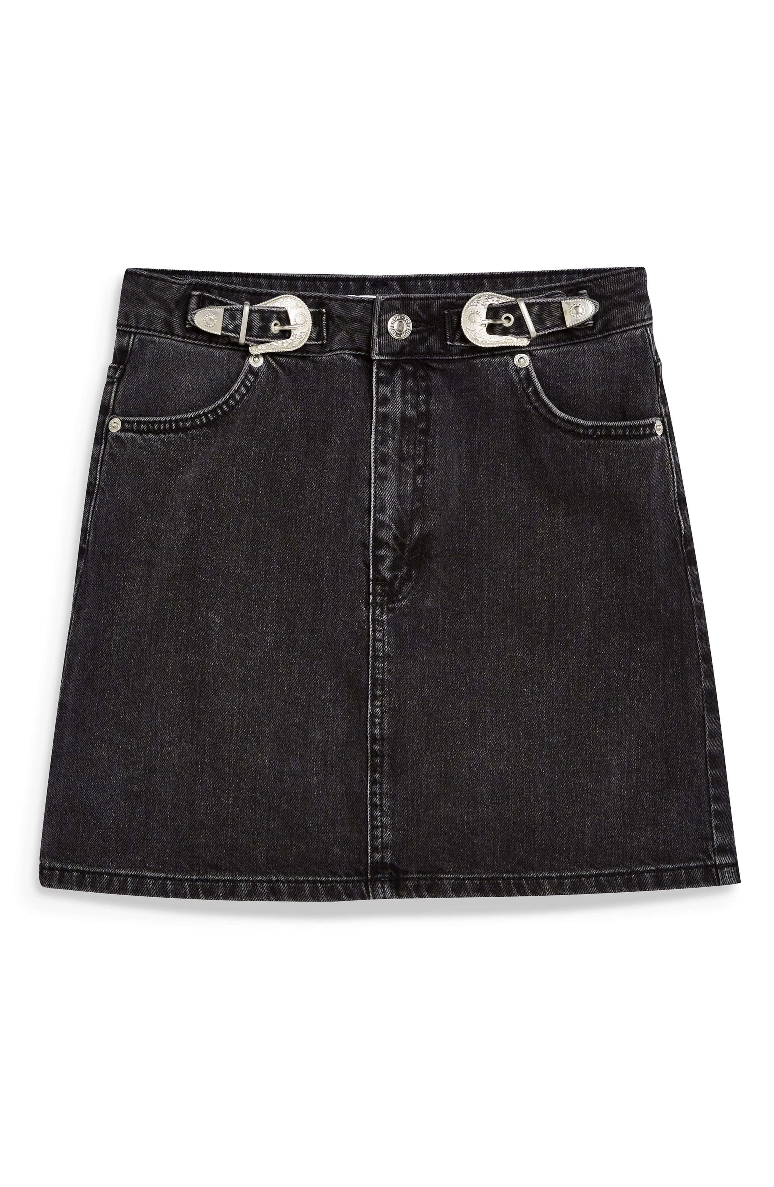 TOPSHOP, Buckle Denim Skirt, Alternate thumbnail 5, color, 002