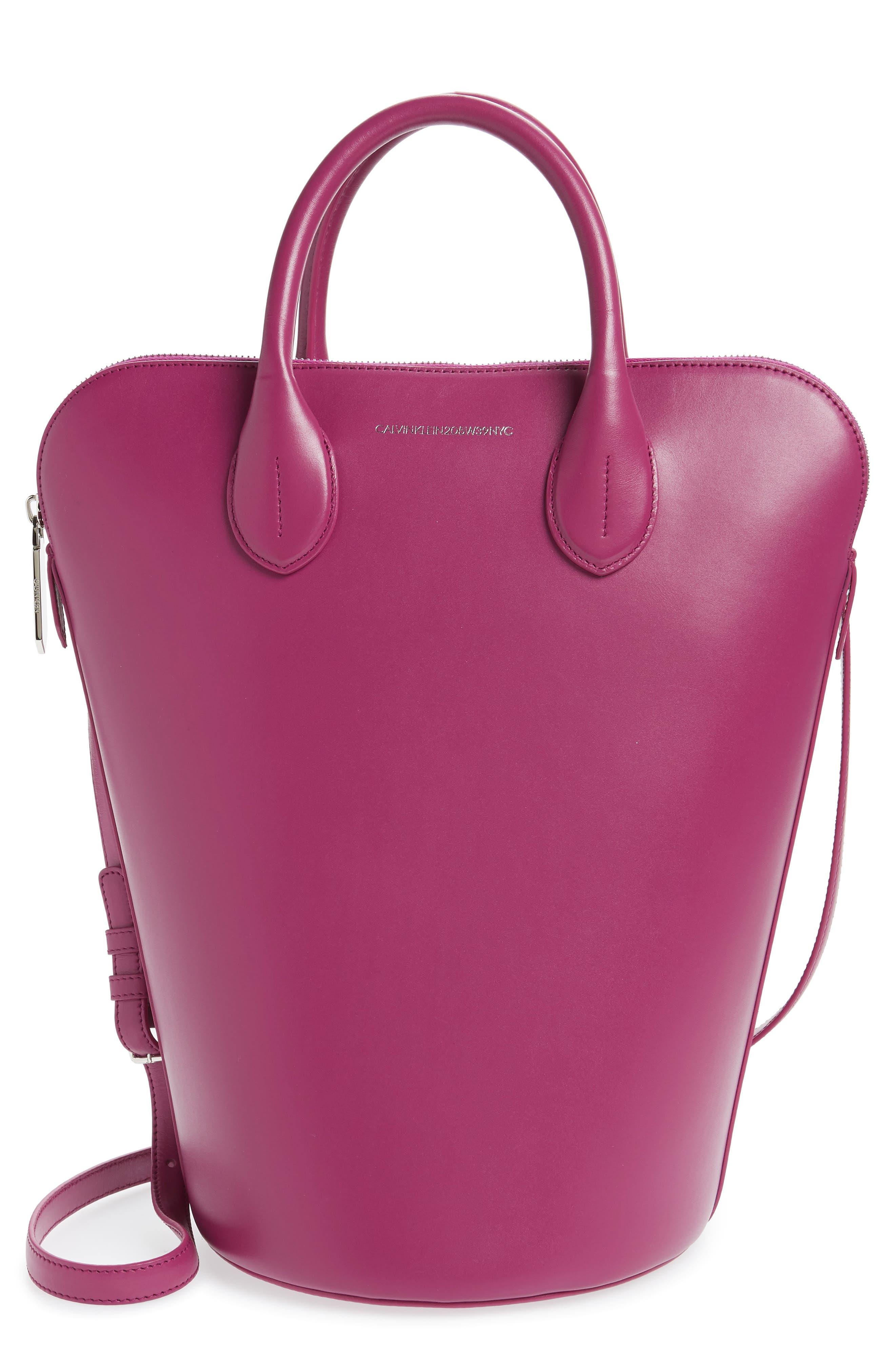 CALVIN KLEIN 205W39NYC Dalton Calfskin Bucket Bag, Main, color, MAGENTA
