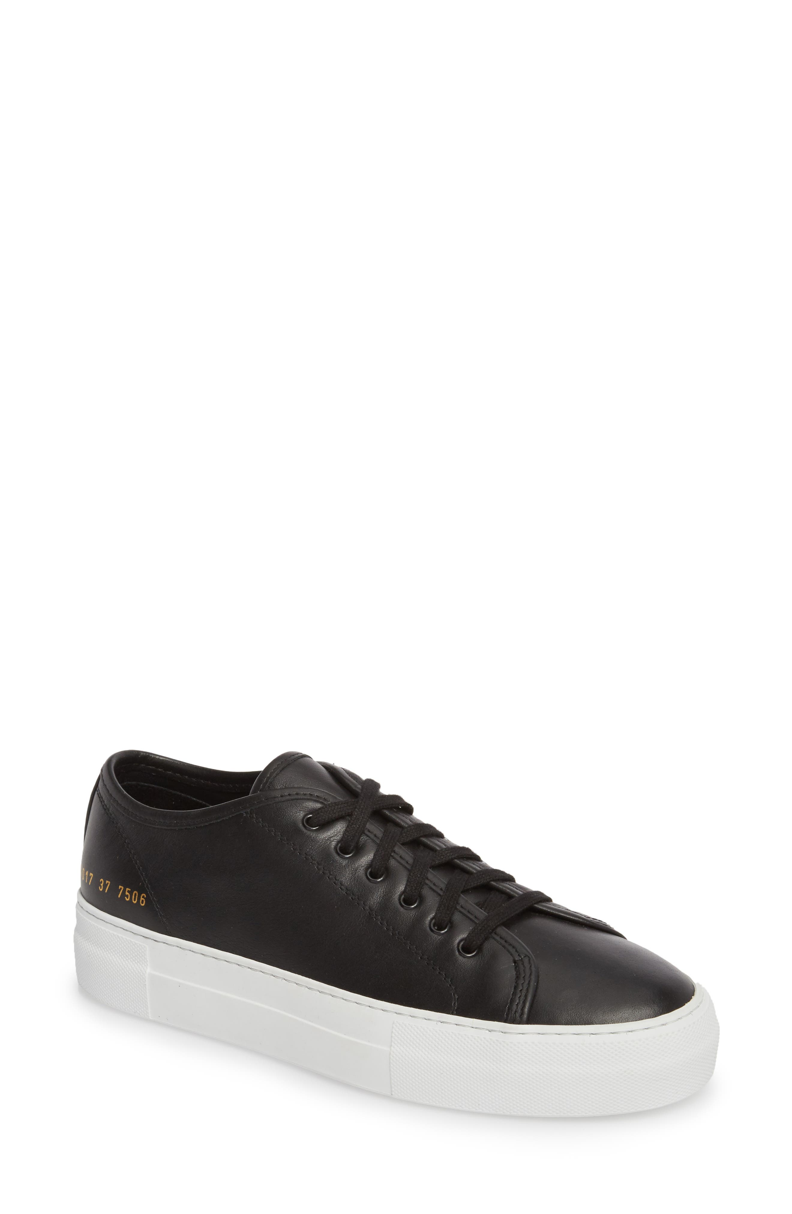 COMMON PROJECTS, Tournament Low Top Sneaker, Main thumbnail 1, color, BLACK