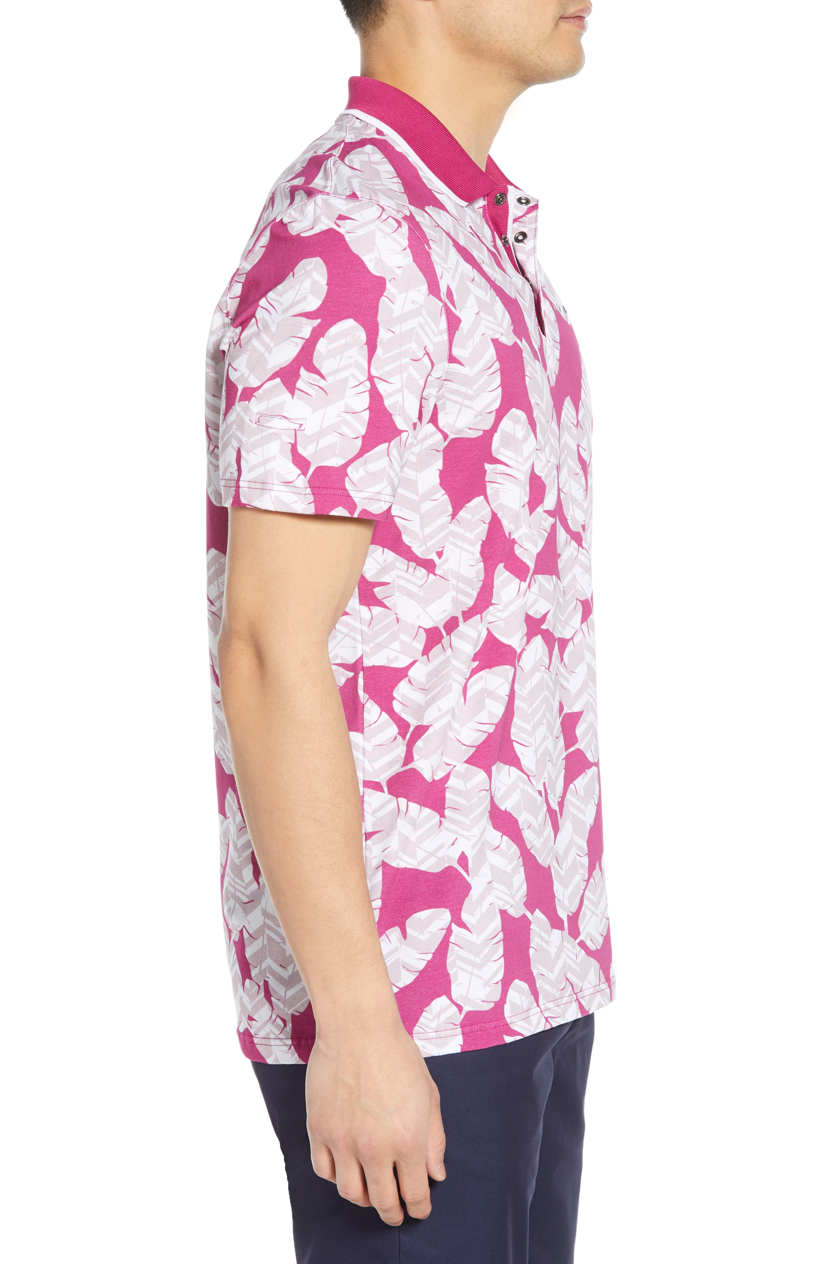 TED BAKER LONDON, Peacan Golf Polo, Alternate thumbnail 3, color, PINK