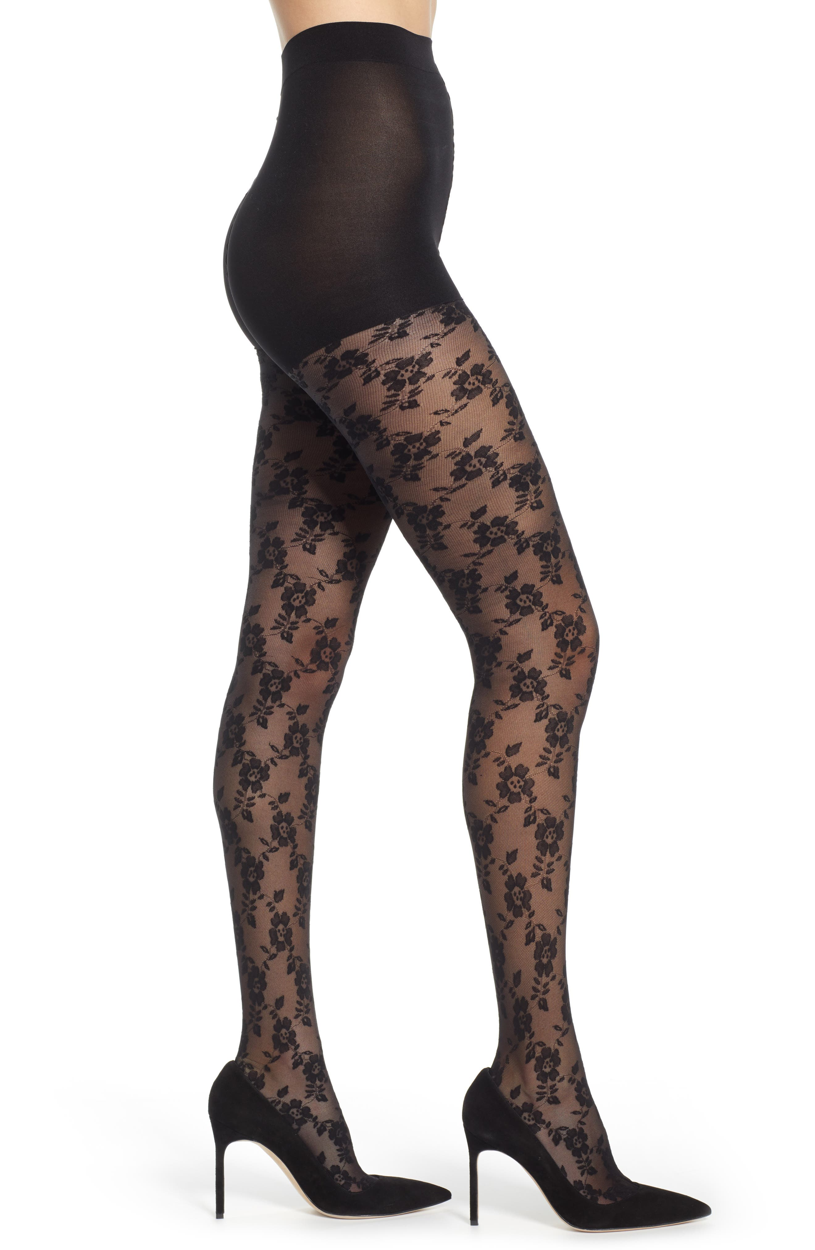 DKNY, Floral Lace Sheer Tights, Main thumbnail 1, color, BLACK
