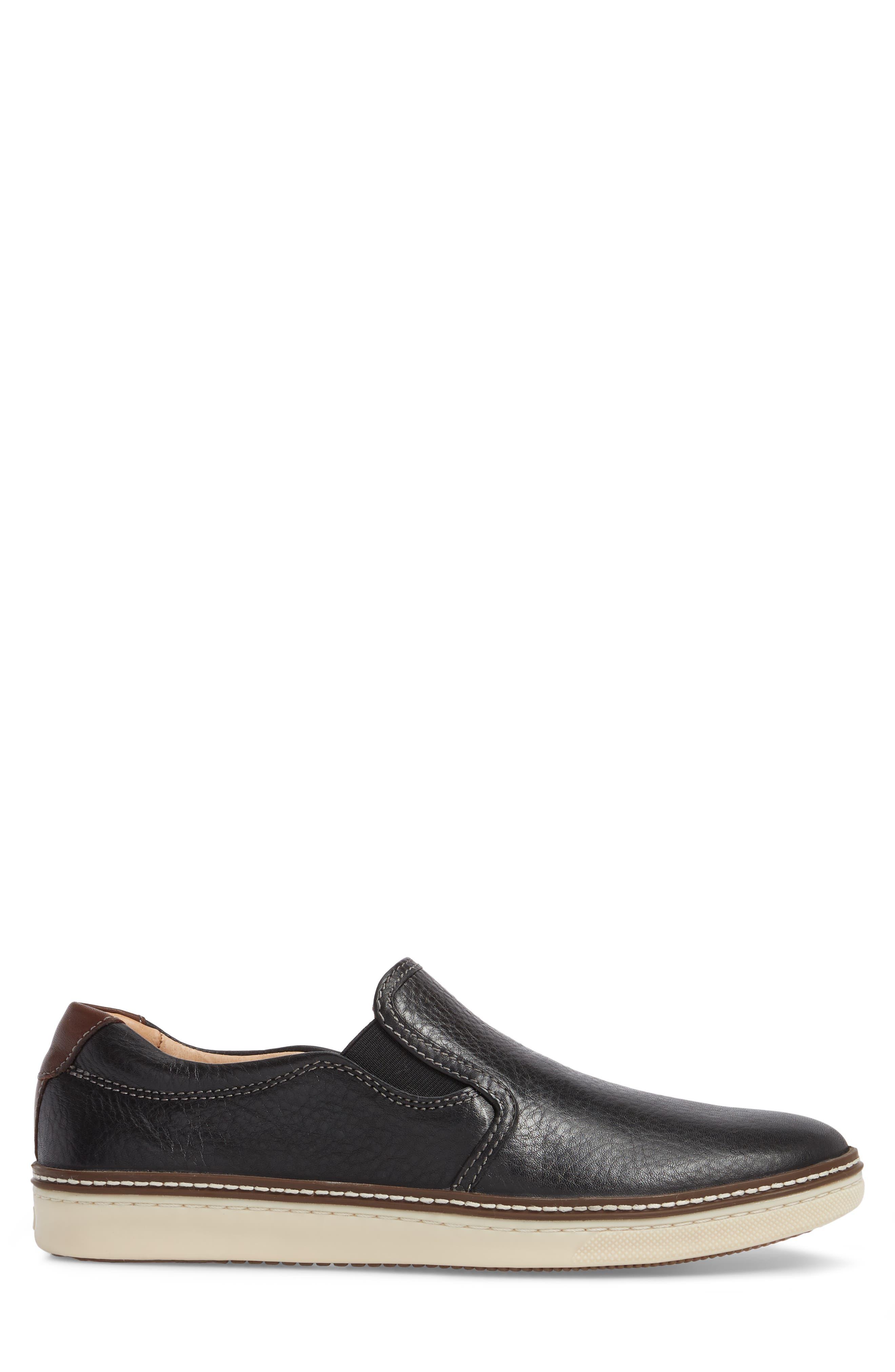 JOHNSTON & MURPHY, McGuffey Slip-On Sneaker, Alternate thumbnail 3, color, BLACK LEATHER