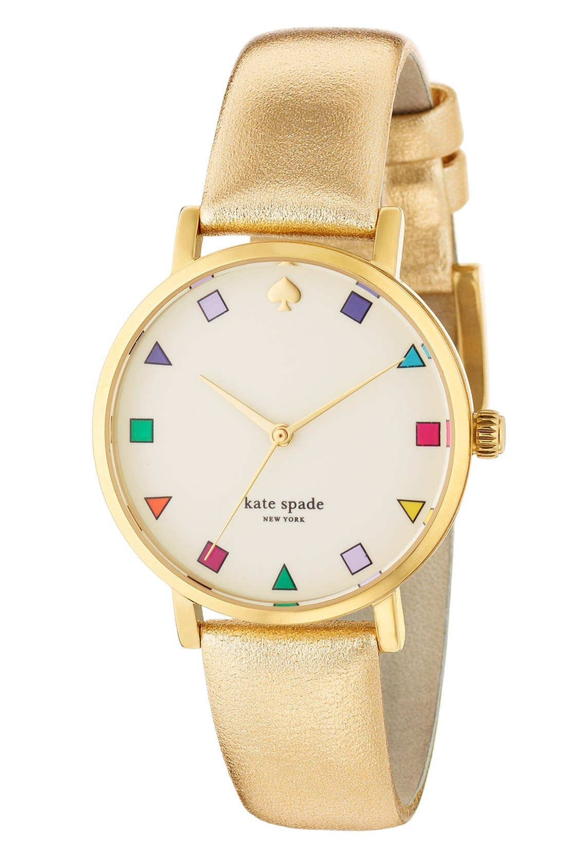 KATE SPADE NEW YORK, 'metro patchwork' leather strap watch, 34mm, Alternate thumbnail 2, color, 710