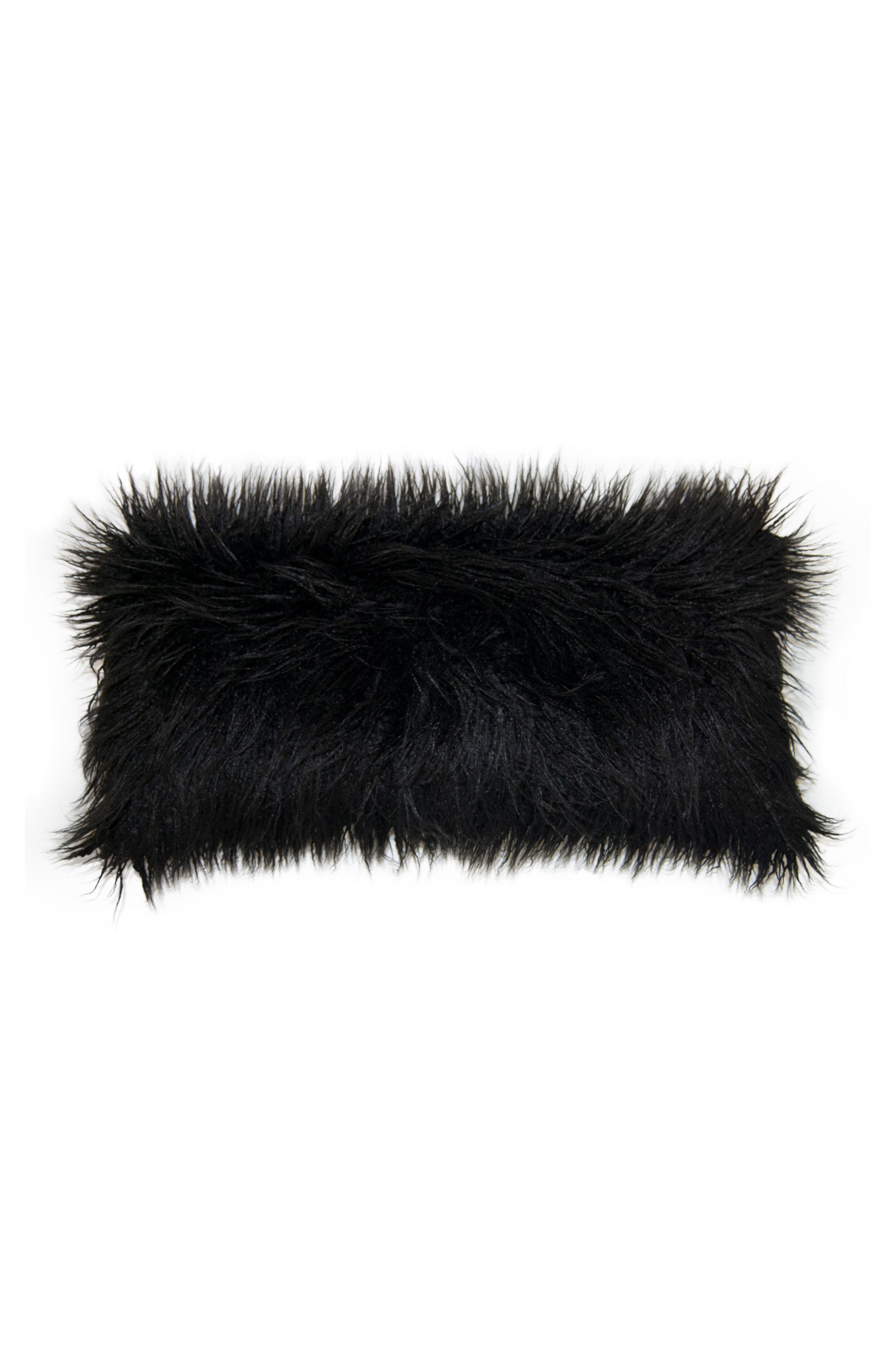 SQUARE FEATHERS, Llama Faux Fur Accent Pillow, Main thumbnail 1, color, BLACK
