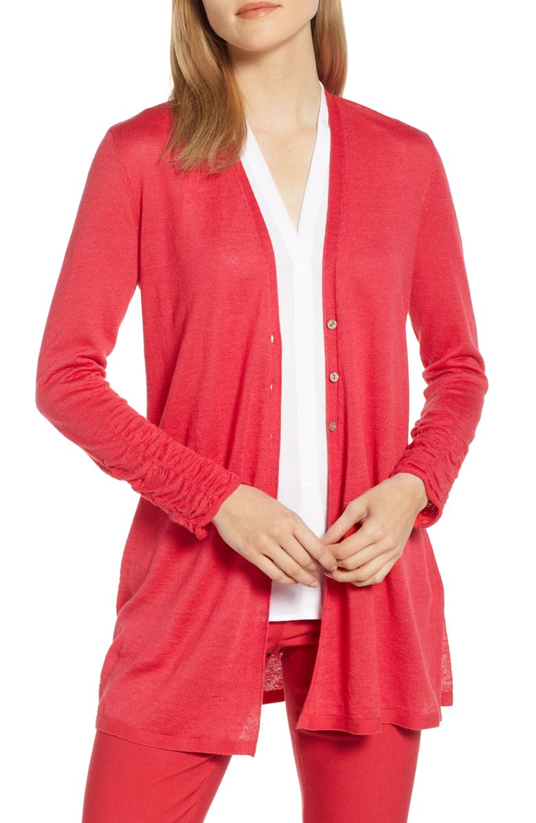 Nic+zoe Tops RUCHED SLEEVE CARDIGAN