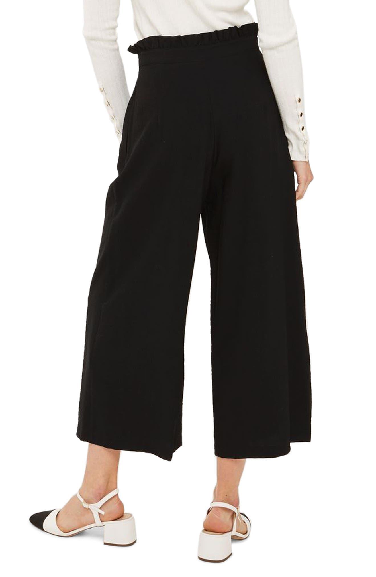 TOPSHOP, Ruffle Waist Trousers, Alternate thumbnail 2, color, 001