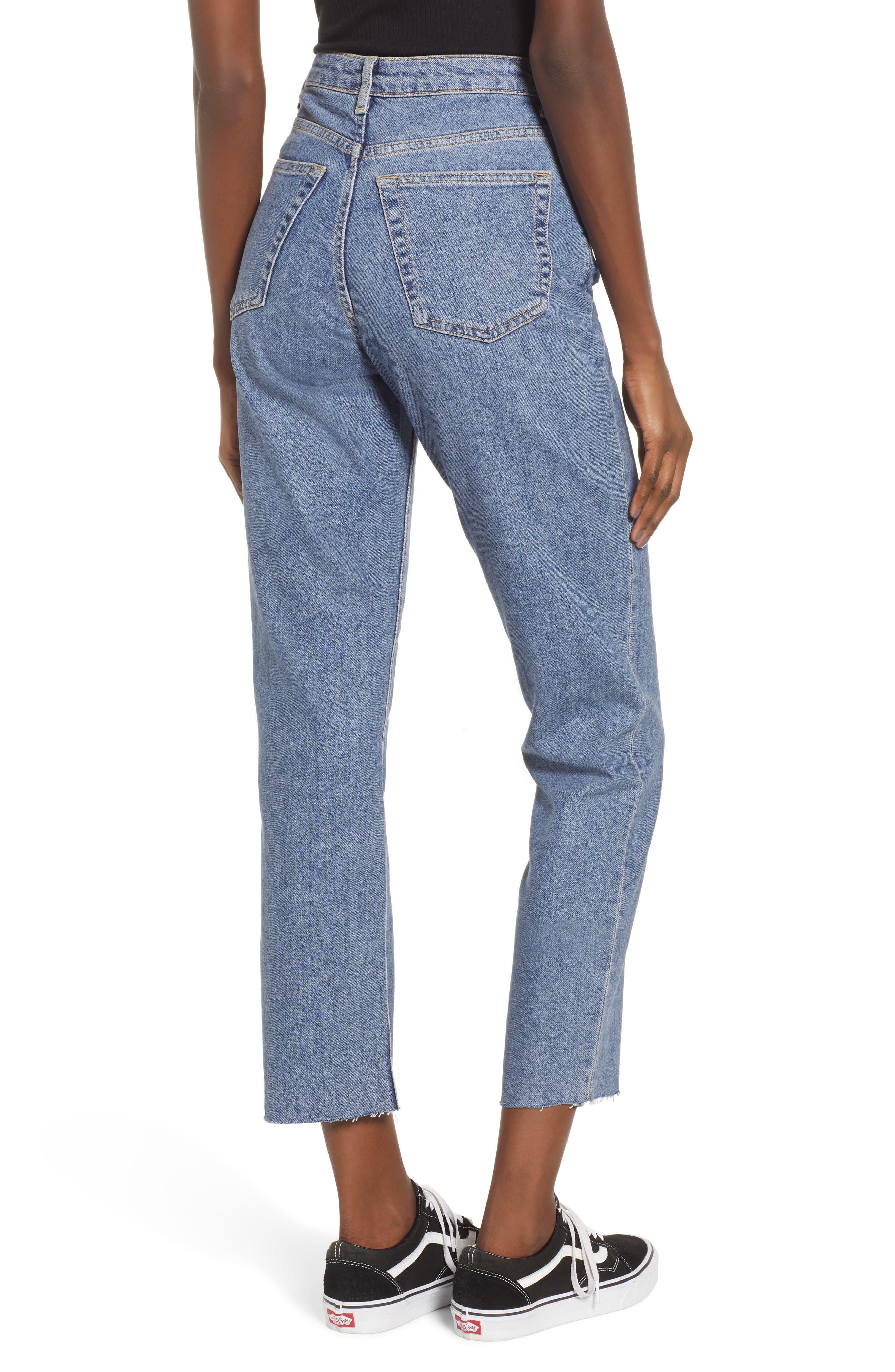 TOPSHOP, Raw Hem Straight Leg Jeans, Alternate thumbnail 2, color, MID BLUE