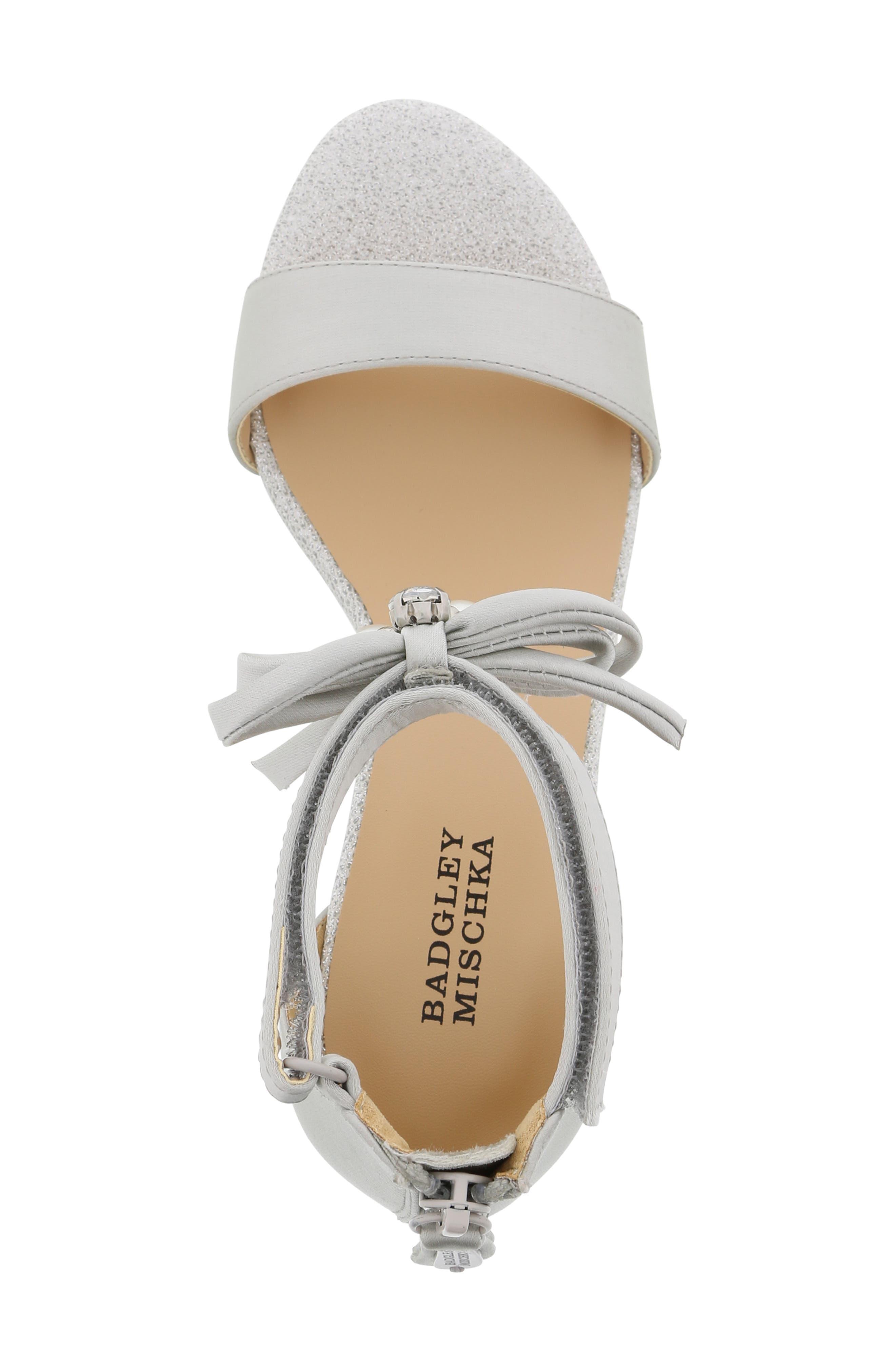 BADGLEY MISCHKA COLLECTION, Badgley Mischka Pernia Embellished Bow Sandal, Alternate thumbnail 5, color, SILVER