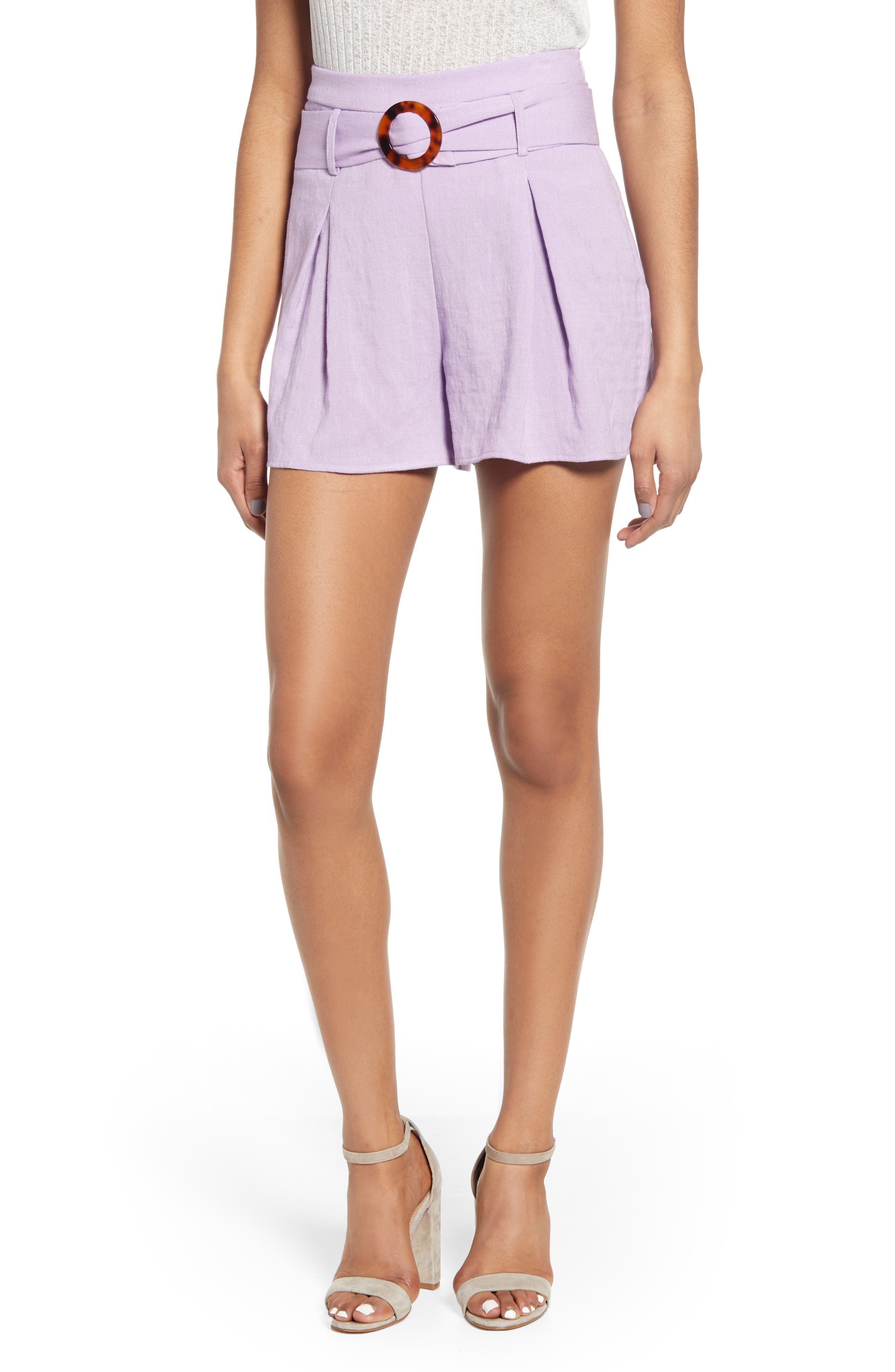 Vintage High Waisted Shorts, Sailor Shorts, Retro Shorts Womens J.o.a. Belted Flare Shorts $75.00 AT vintagedancer.com