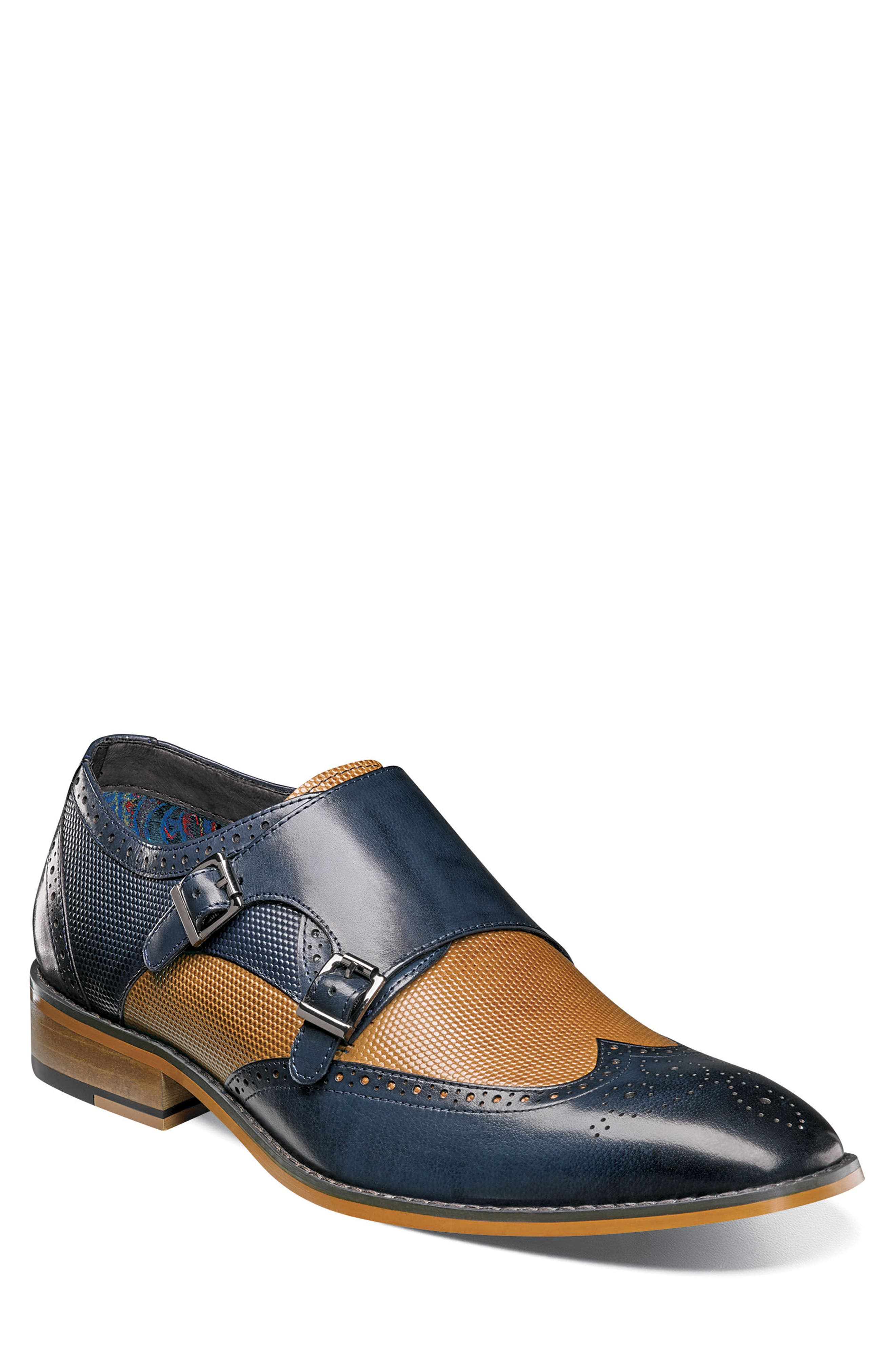 STACY ADAMS, Lavine Wingtip Monk Shoe, Alternate thumbnail 2, color, NAVY AND SADDLE TAN LEATHER