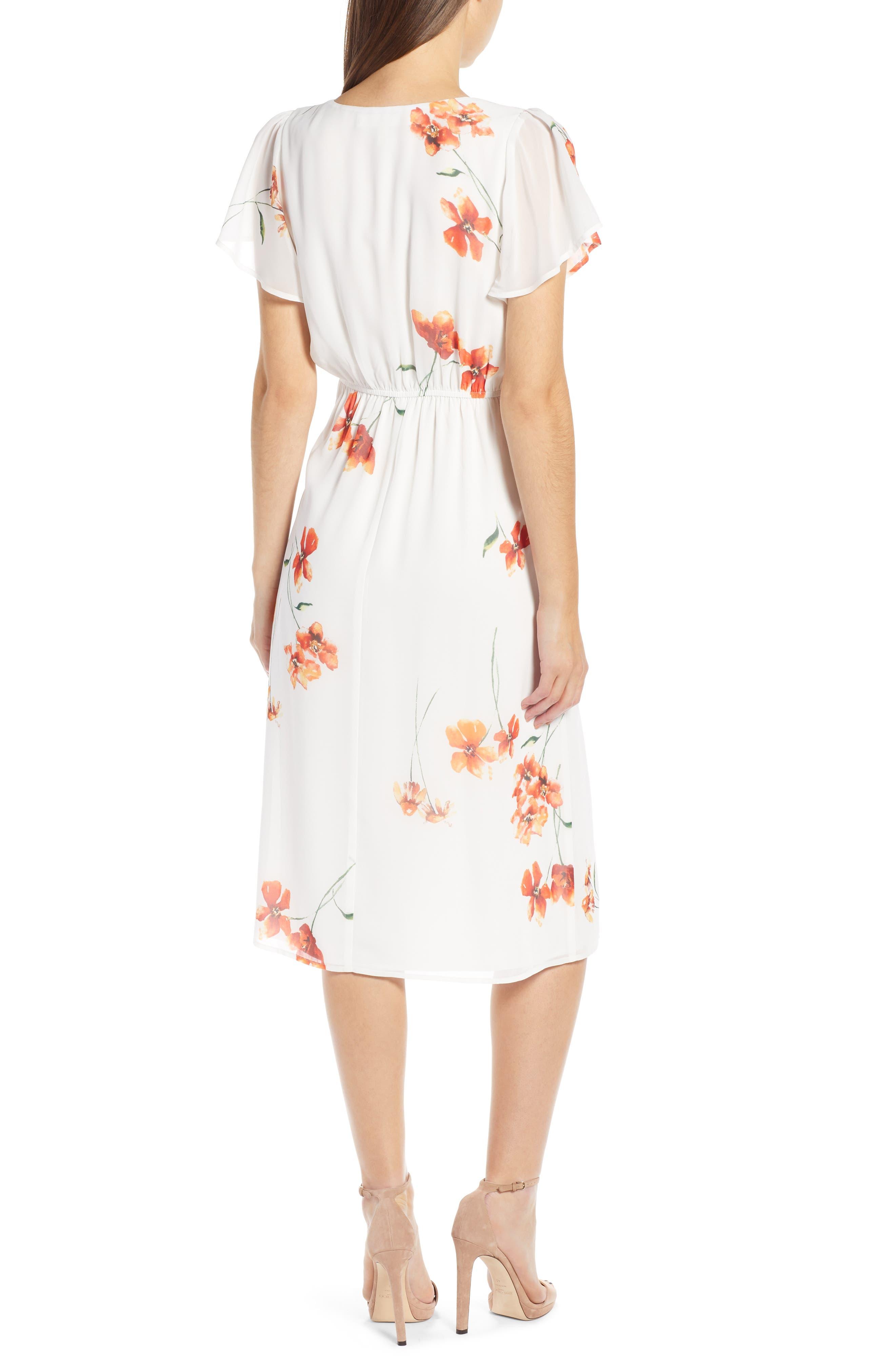 ROW A, Twist Front Midi Dress, Alternate thumbnail 2, color, IVORY ORANGE FLORAL