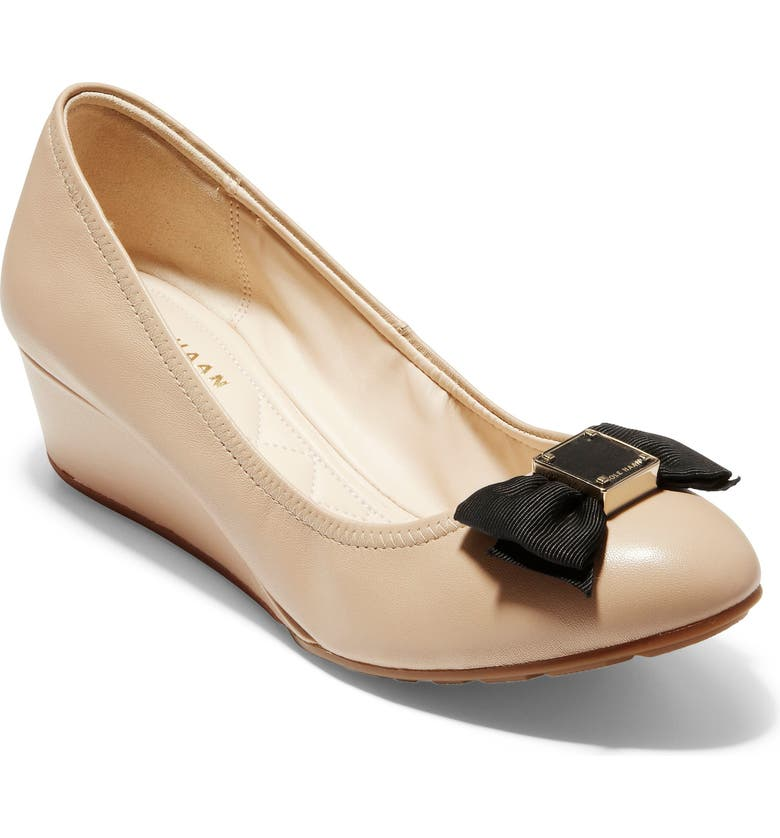 b760bfd8ae2 Cole Haan Tali Grand Soft Bow Wedge Pumps In Nude Leather ...
