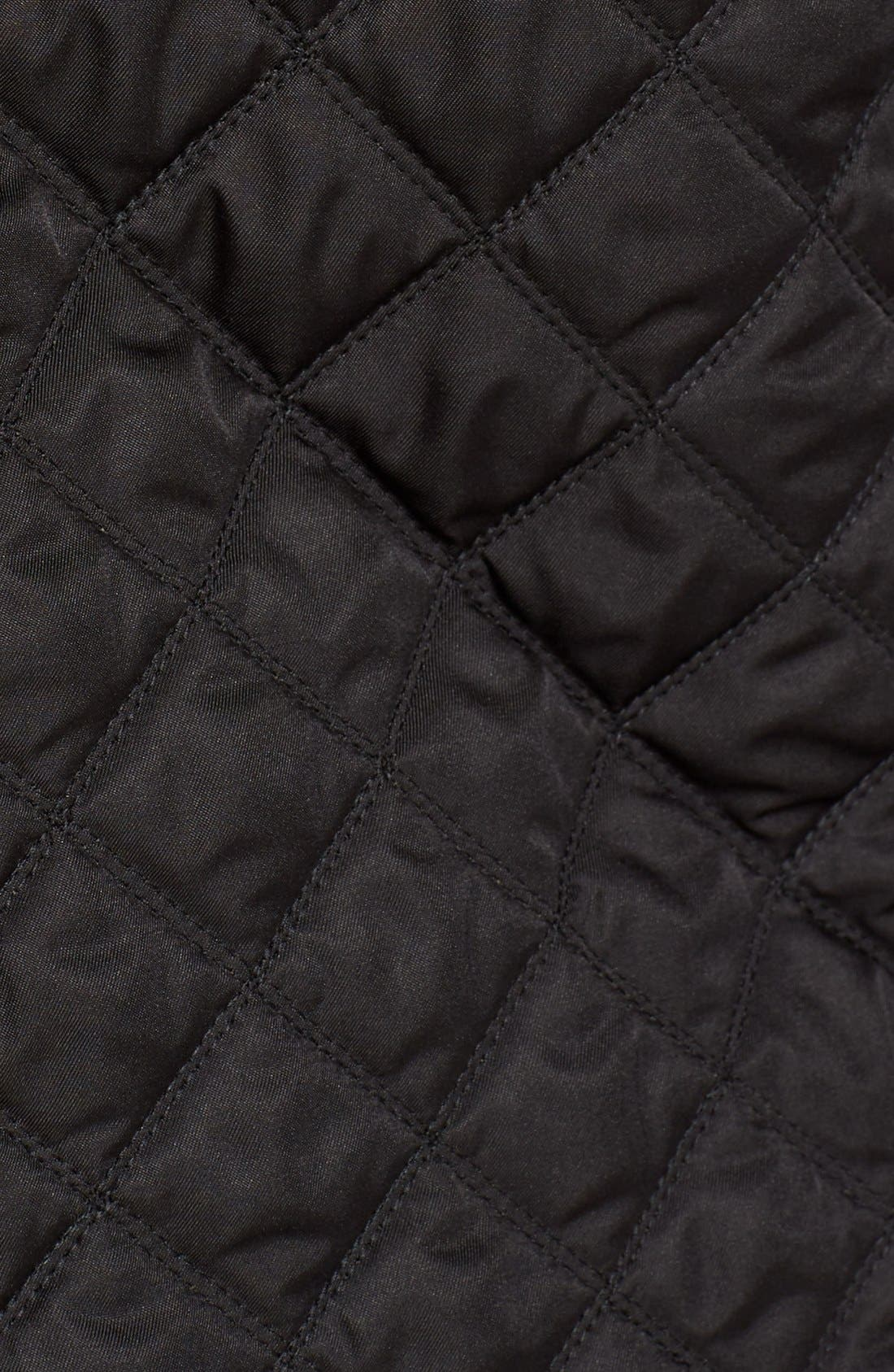 BURBERRY BRIT, 'Leightonbury' Quilted Hooded Jacket, Alternate thumbnail 3, color, 001
