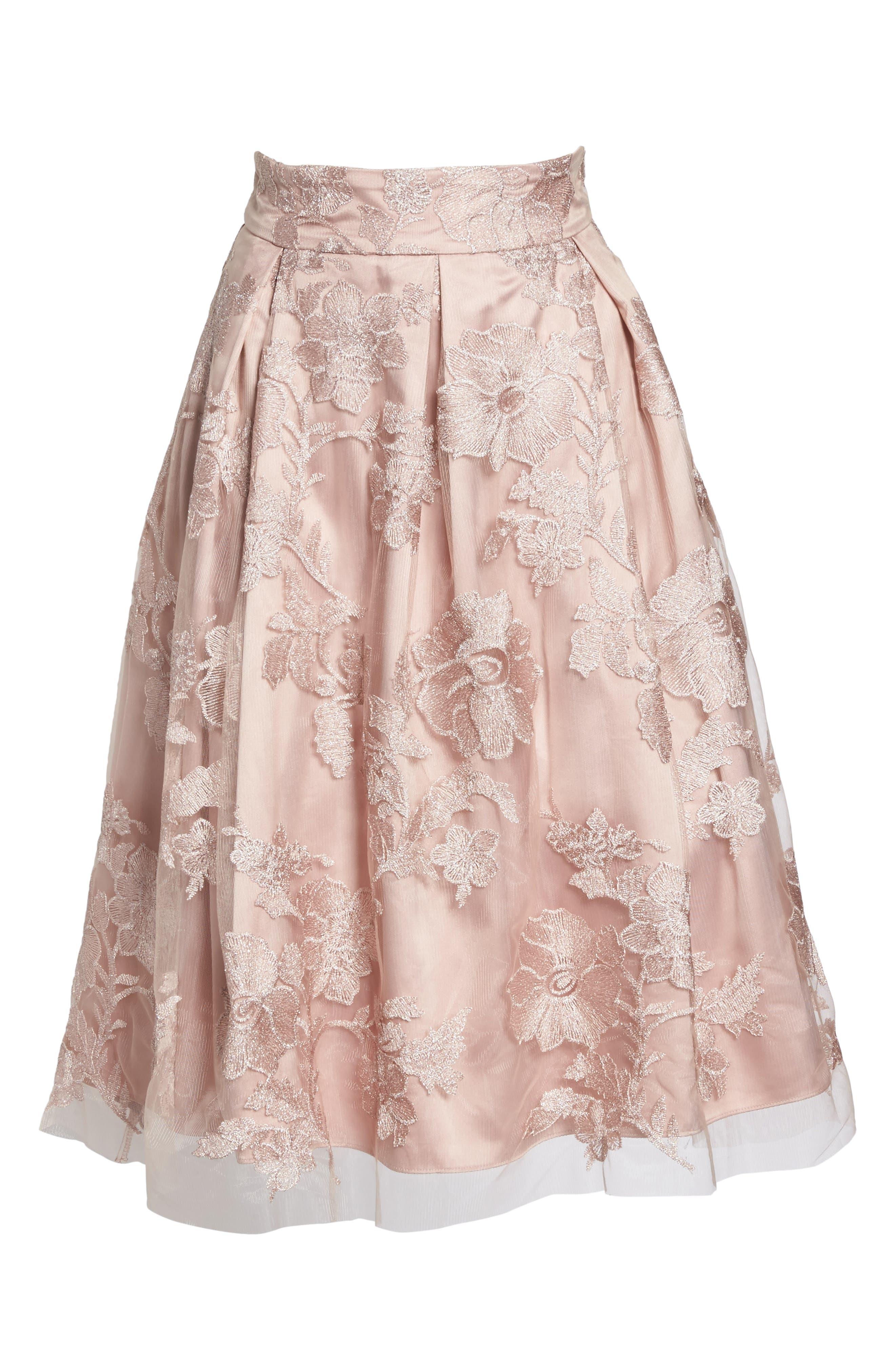 ELIZA J, Floral Embroidered Skirt, Alternate thumbnail 6, color, 254