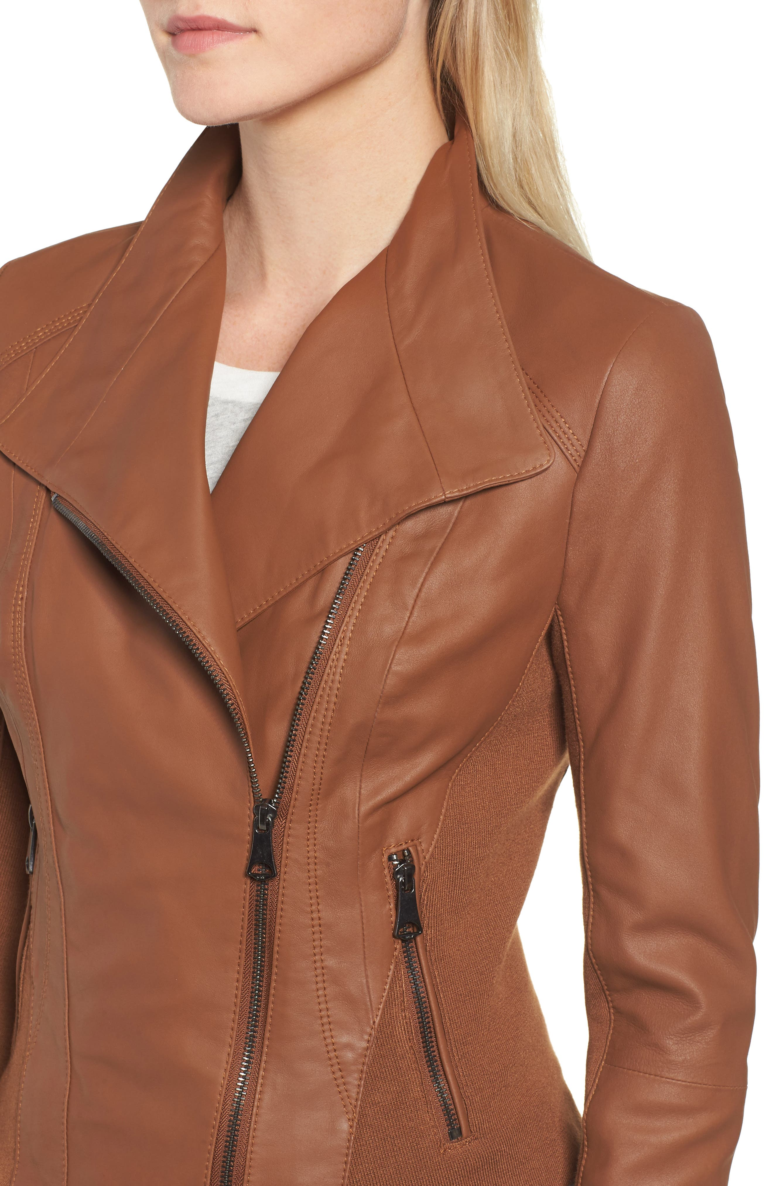 ANDREW MARC, Marc New York by Andrew Marc Felix Stand Collar Leather Jacket, Alternate thumbnail 5, color, WHISKEY
