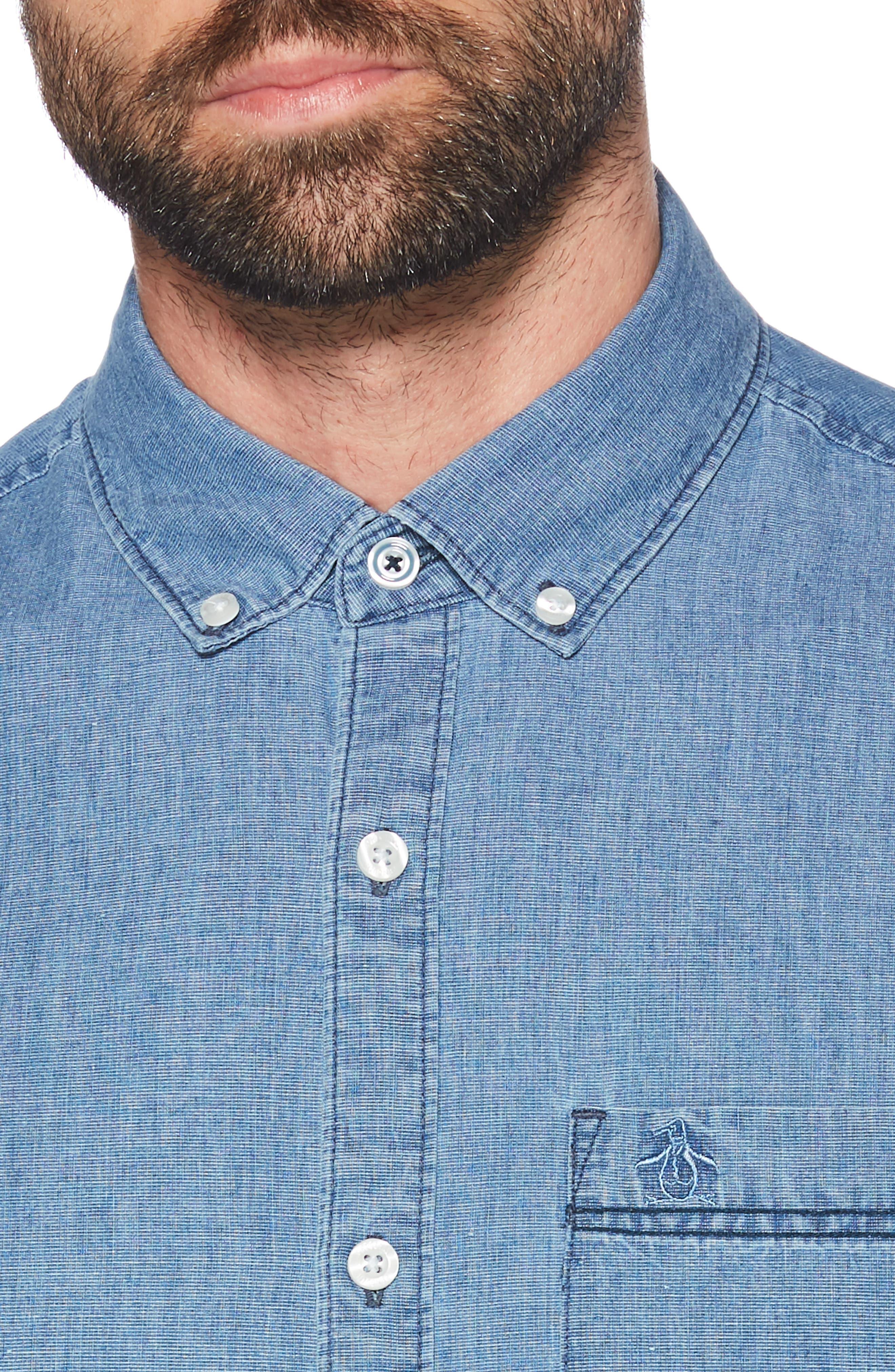 ORIGINAL PENGUIN, Pinpoint Slim Fit Chambray Shirt, Alternate thumbnail 2, color, 489