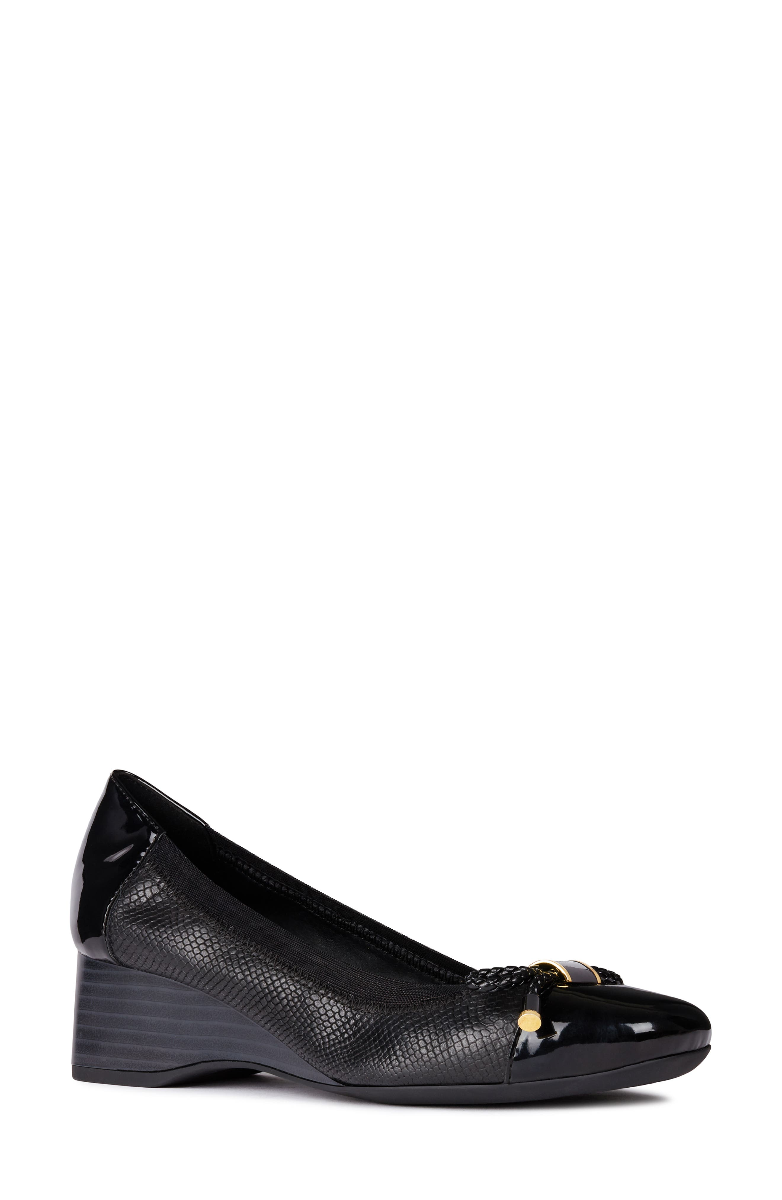 GEOX Audalya Wedge Pump, Main, color, BLACK LEATHER