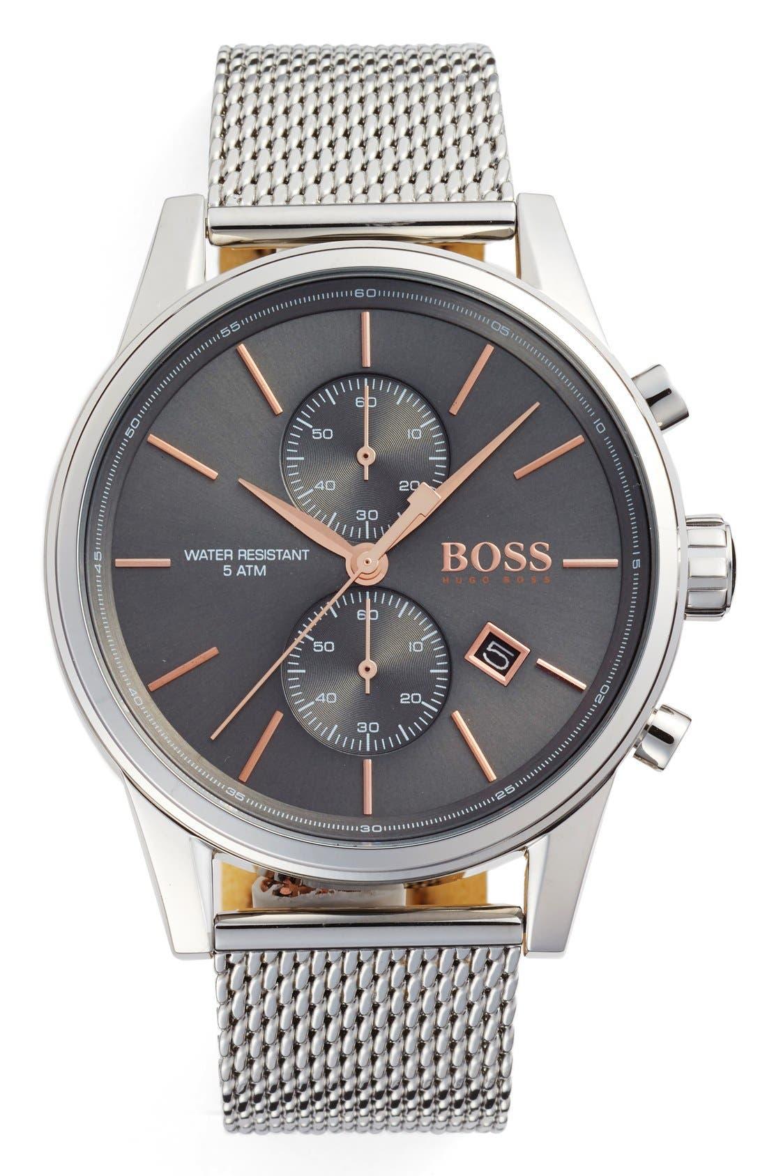 BOSS, Jet Chronograph Mesh Strap Watch, 41mm, Main thumbnail 1, color, SLATE/ SILVER