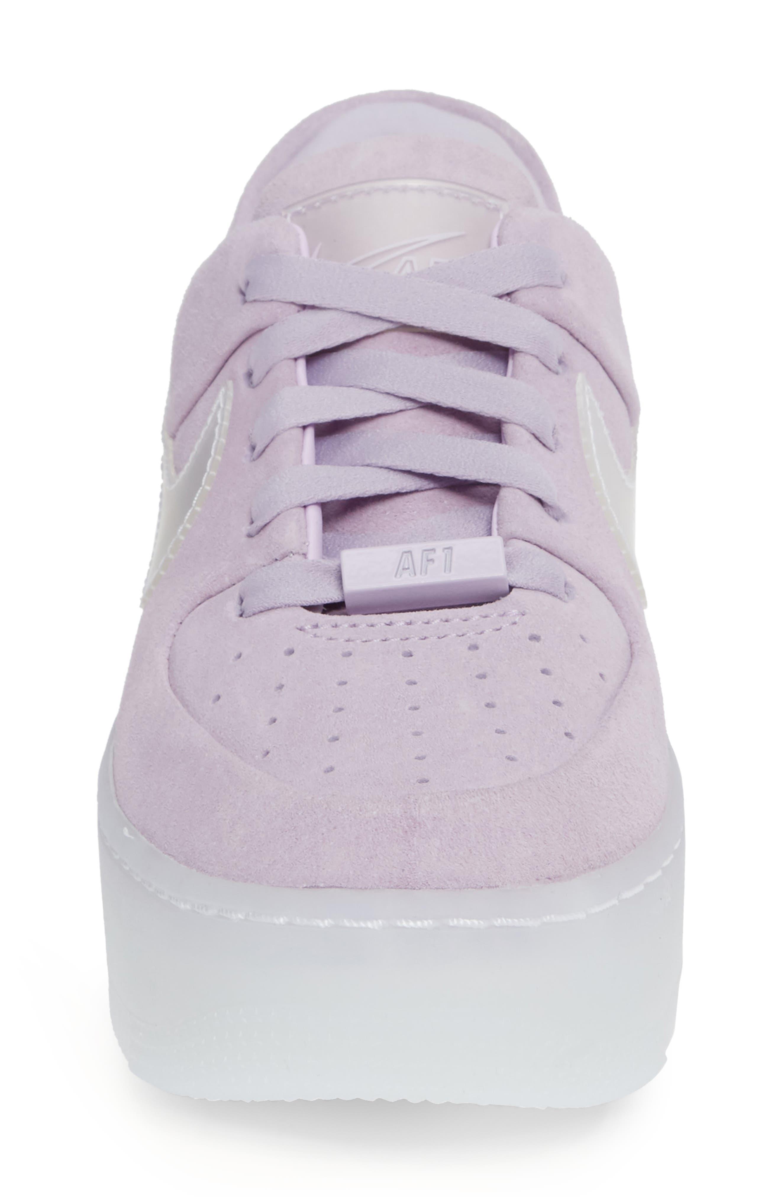 NIKE, Air Force 1 Sage Low Platform Sneaker, Alternate thumbnail 4, color, VIOLET MIST/ VIOLET MIST